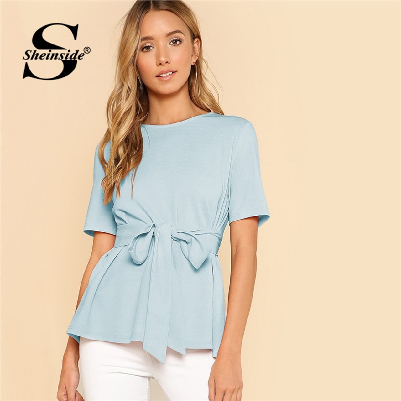 929116aced Sheinside Self Belt Keyhole Back Shirt Short Sleeve Plain Womens Tops and  Blouses Summer Ladies Workwear Elegant Blouse - OnshopDeals.Com