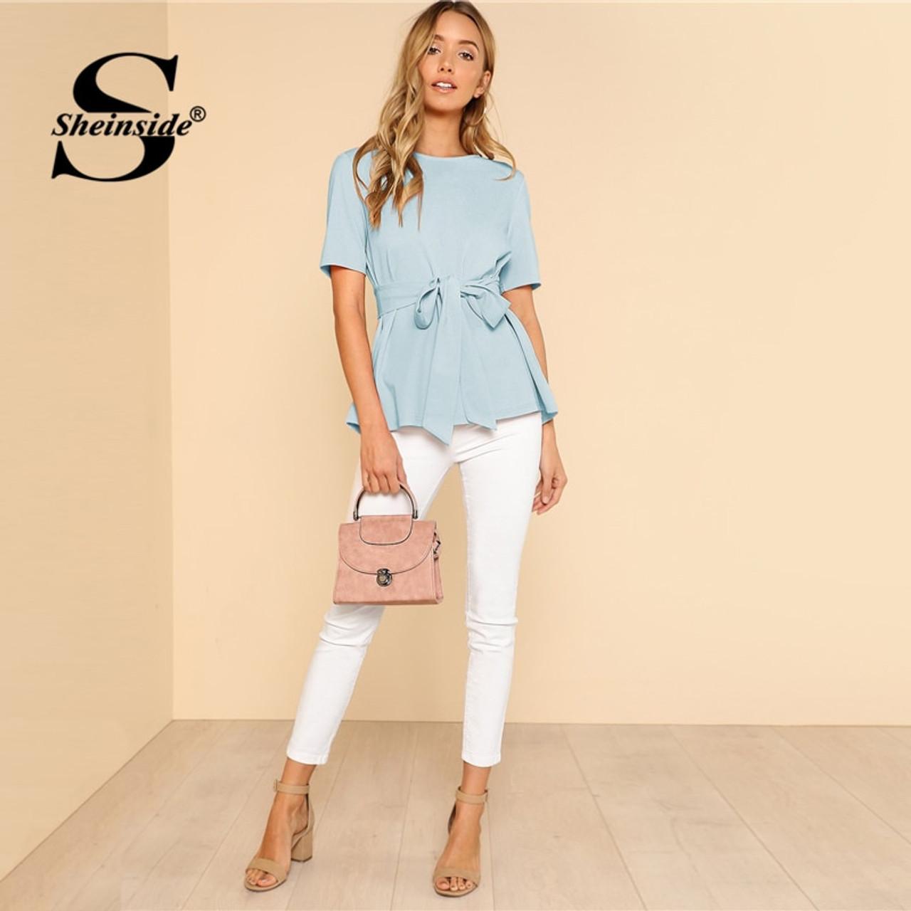 d0dda13e5a ... Sheinside Self Belt Keyhole Back Shirt Short Sleeve Plain Womens Tops  and Blouses Summer Ladies Workwear ...