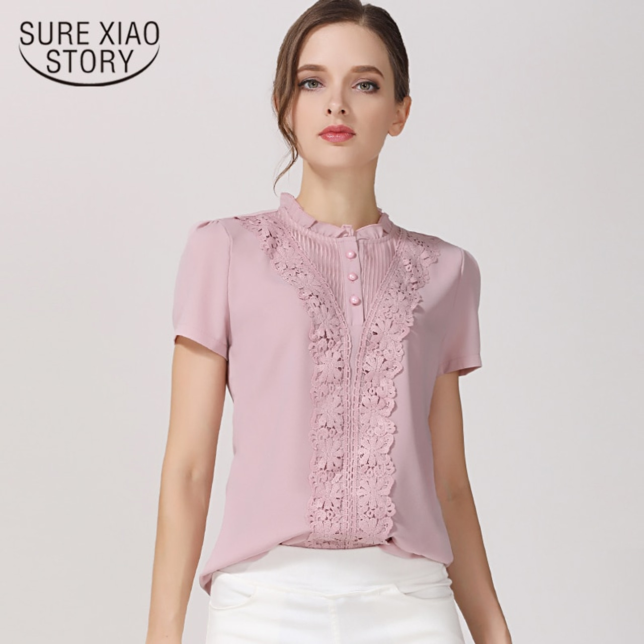 8d6cb57b16cb2b New 2018 Summer Fashion Chiffon Women Blouses Shirts Short Sleeve Tops Lace  Chiffon Women Blouse Shirt ...