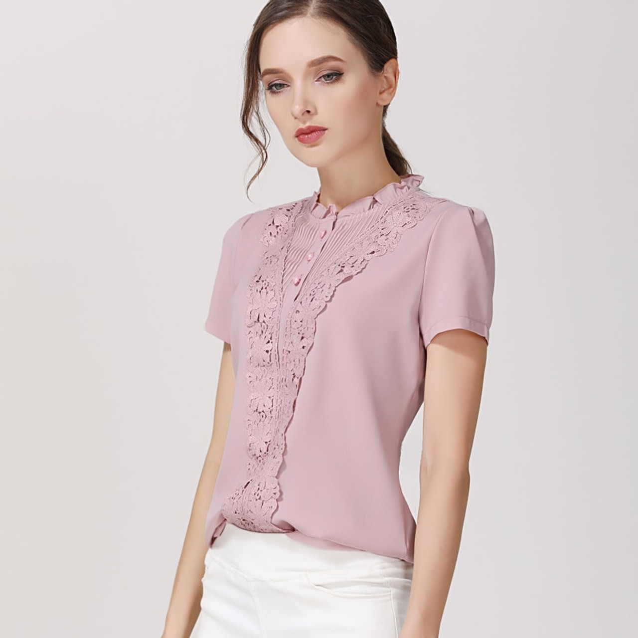 9a33926469ea38 ... New 2018 Summer Fashion Chiffon Women Blouses Shirts Short Sleeve Tops  Lace Chiffon Women Blouse Shirt ...