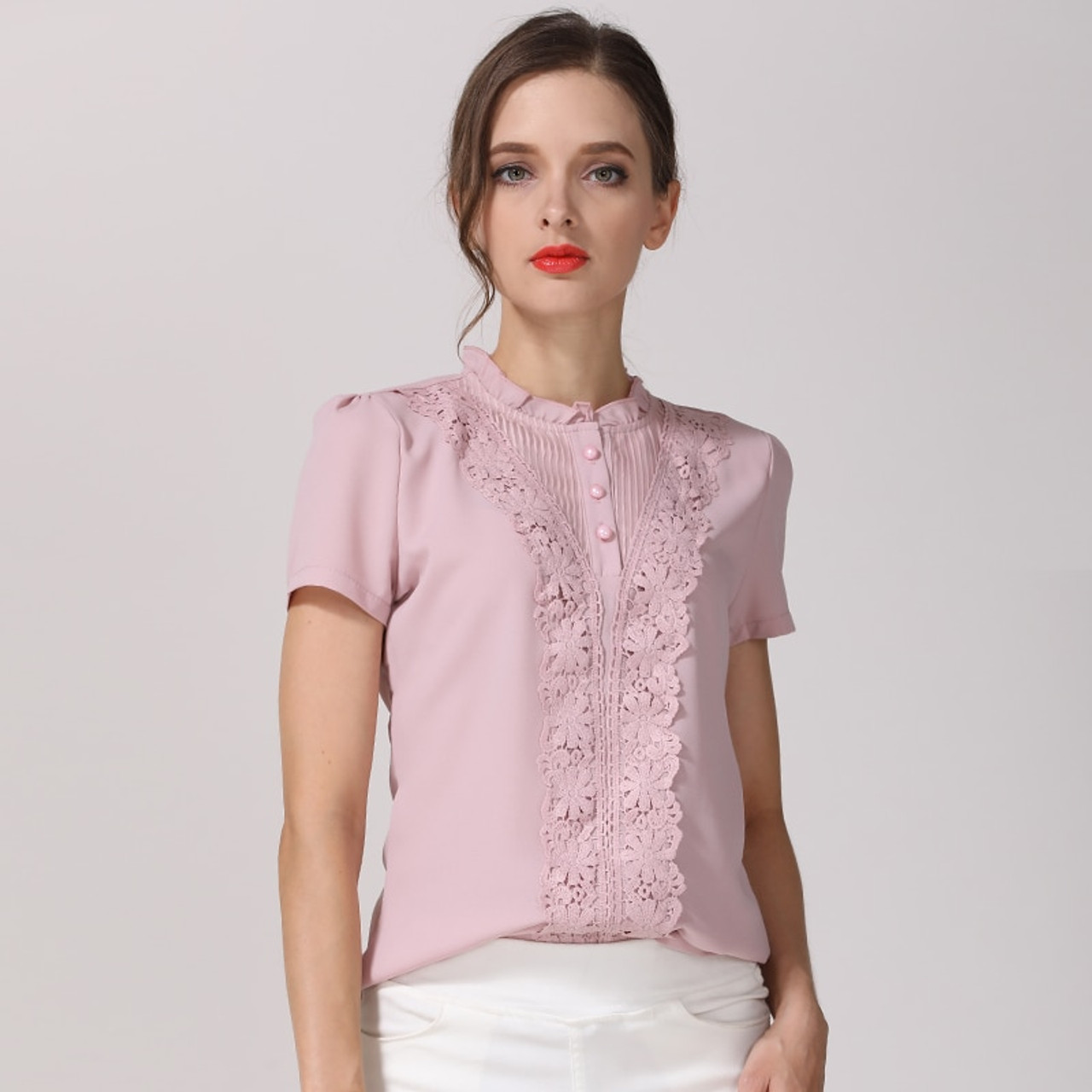 New Women/'s Sleeve Shirt Blouse Top Lace Pink S M L