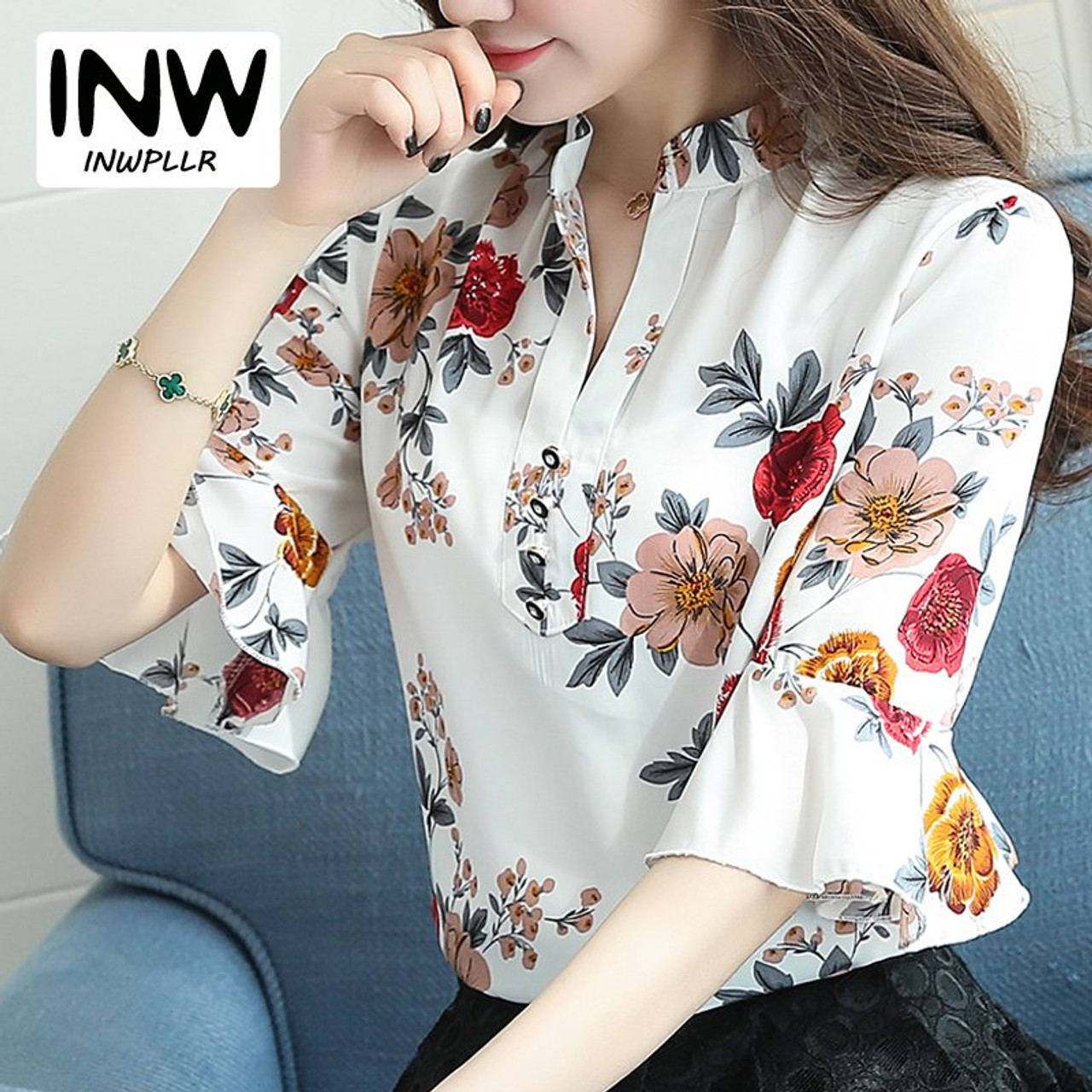 b2a629045669 Blusas Femininas 2018 New Fashion Chiffon Blouse Women Printed Blouses  Floral Print Shirts Summer Ladies Tops ...