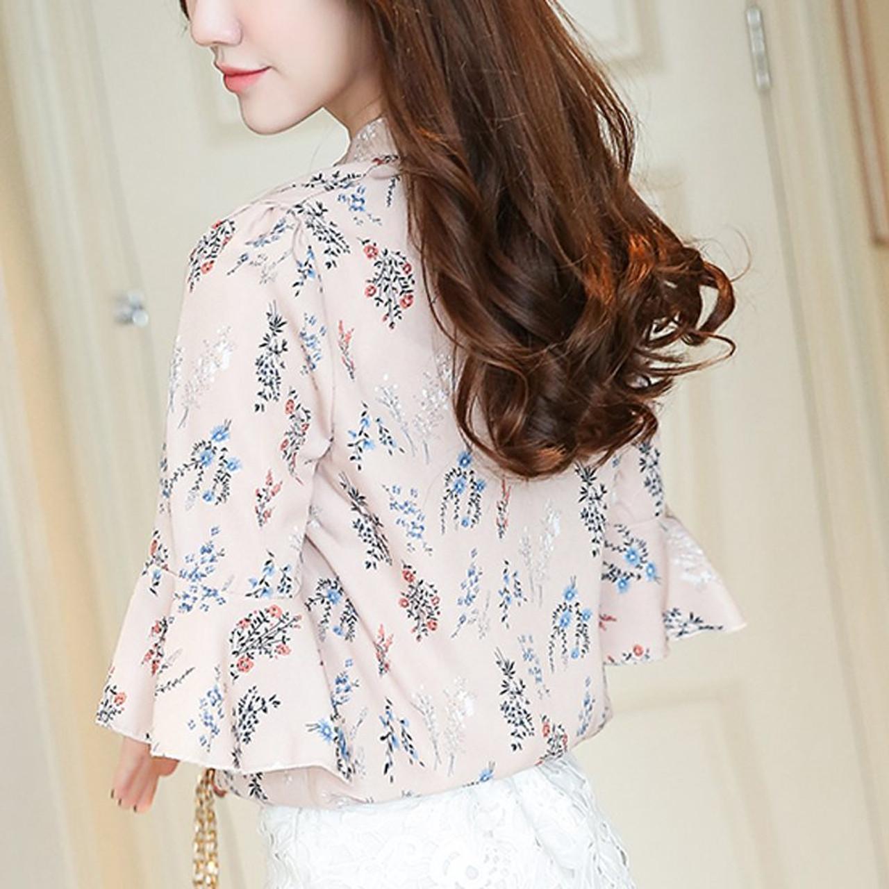 calidad primero 2019 original Cantidad limitada Blusas Femininas 2018 New Fashion Chiffon Blouse Women Printed Blouses  Floral Print Shirts Summer Ladies Tops Big Size