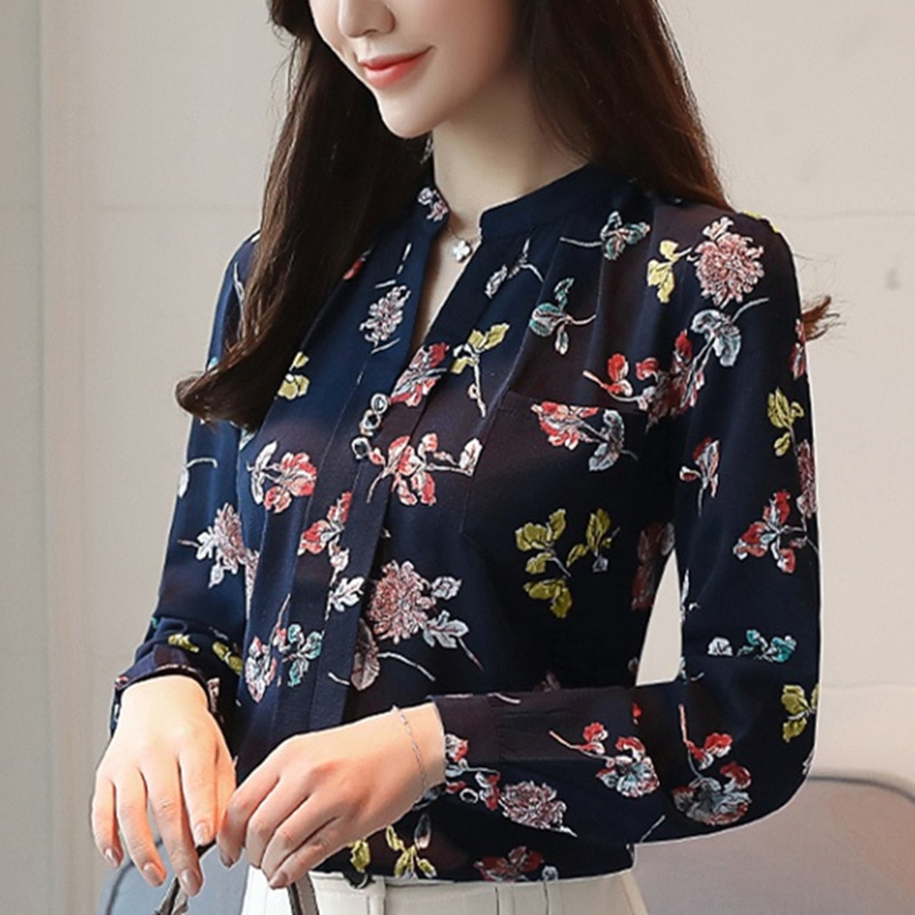 62cc07784ca 2018 Womens Tops And Blouses Autumn Fashion V-Neck Chiffon Blouses Slim  Women Chiffon Blouse Office Work Wear Shirts Women Tops