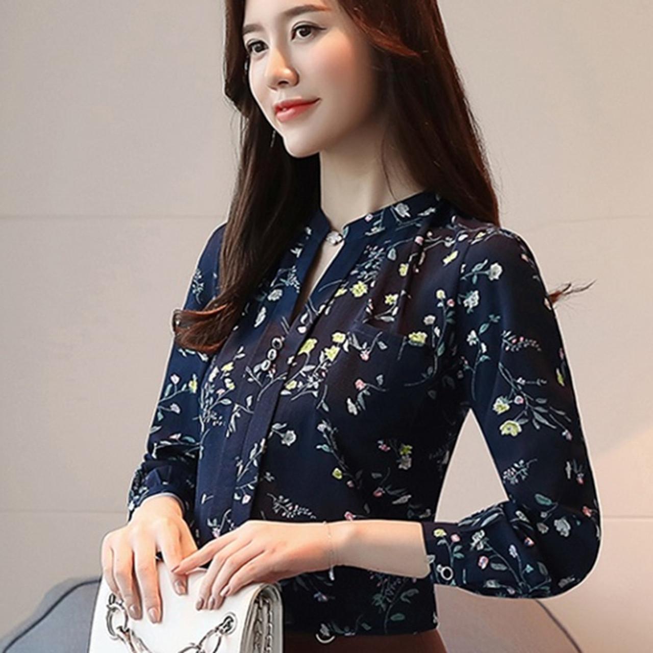 b3e3899e6ffd9 ... 2018 Womens Tops And Blouses Autumn Fashion V-Neck Chiffon Blouses Slim  Women Chiffon Blouse ...