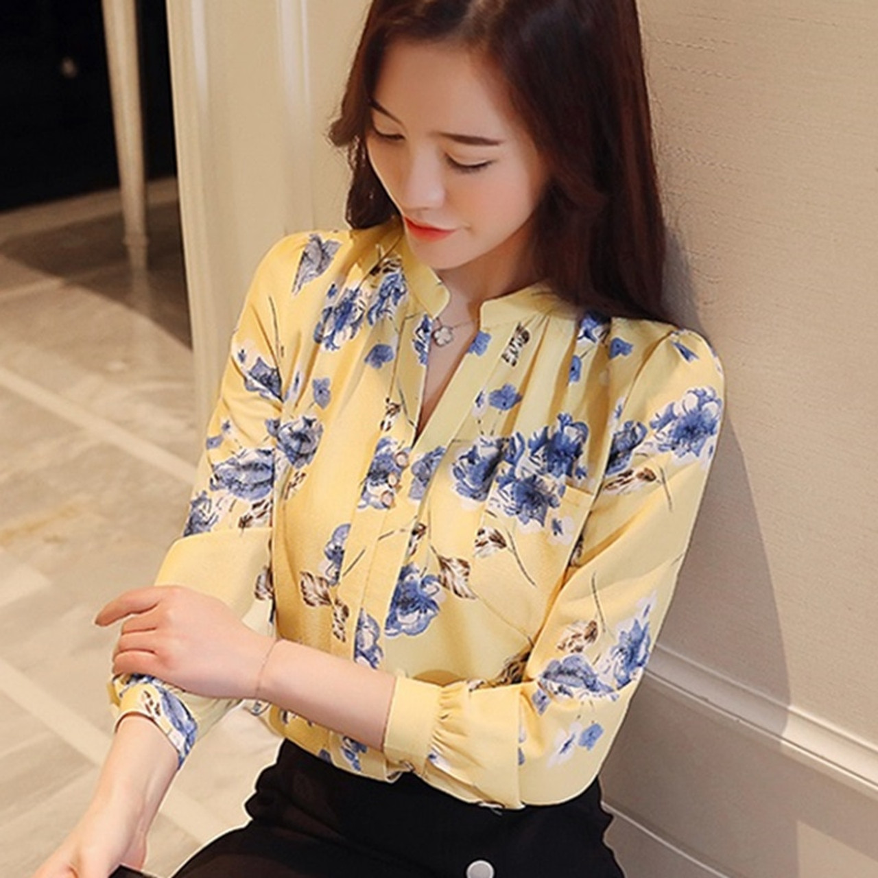 5cdc78b4c9 2018 Womens Tops And Blouses Autumn Fashion V-Neck Chiffon Blouses Slim  Women Chiffon Blouse Office Work Wear Shirts Women Tops