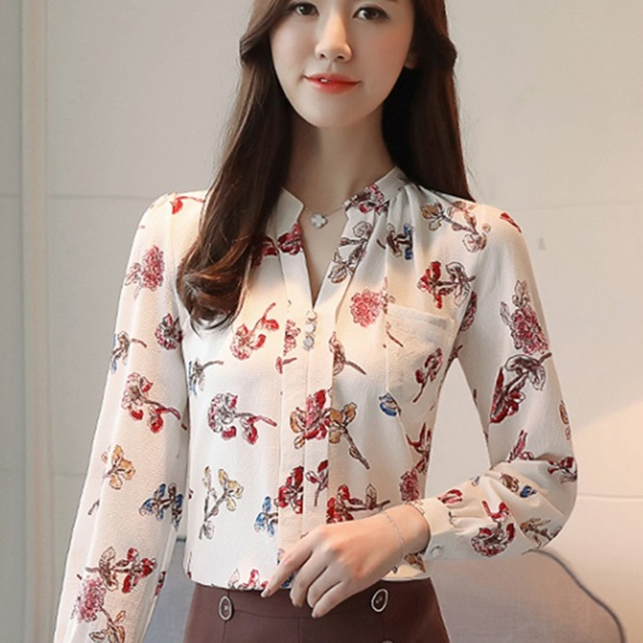 44e94daebed663 ... 2018 Womens Tops And Blouses Autumn Fashion V-Neck Chiffon Blouses Slim  Women Chiffon Blouse ...