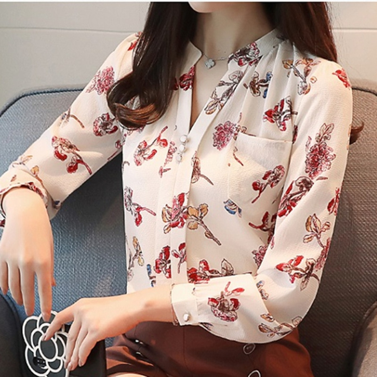 8660442677a8c1 ... 2018 Womens Tops And Blouses Autumn Fashion V-Neck Chiffon Blouses Slim  Women Chiffon Blouse