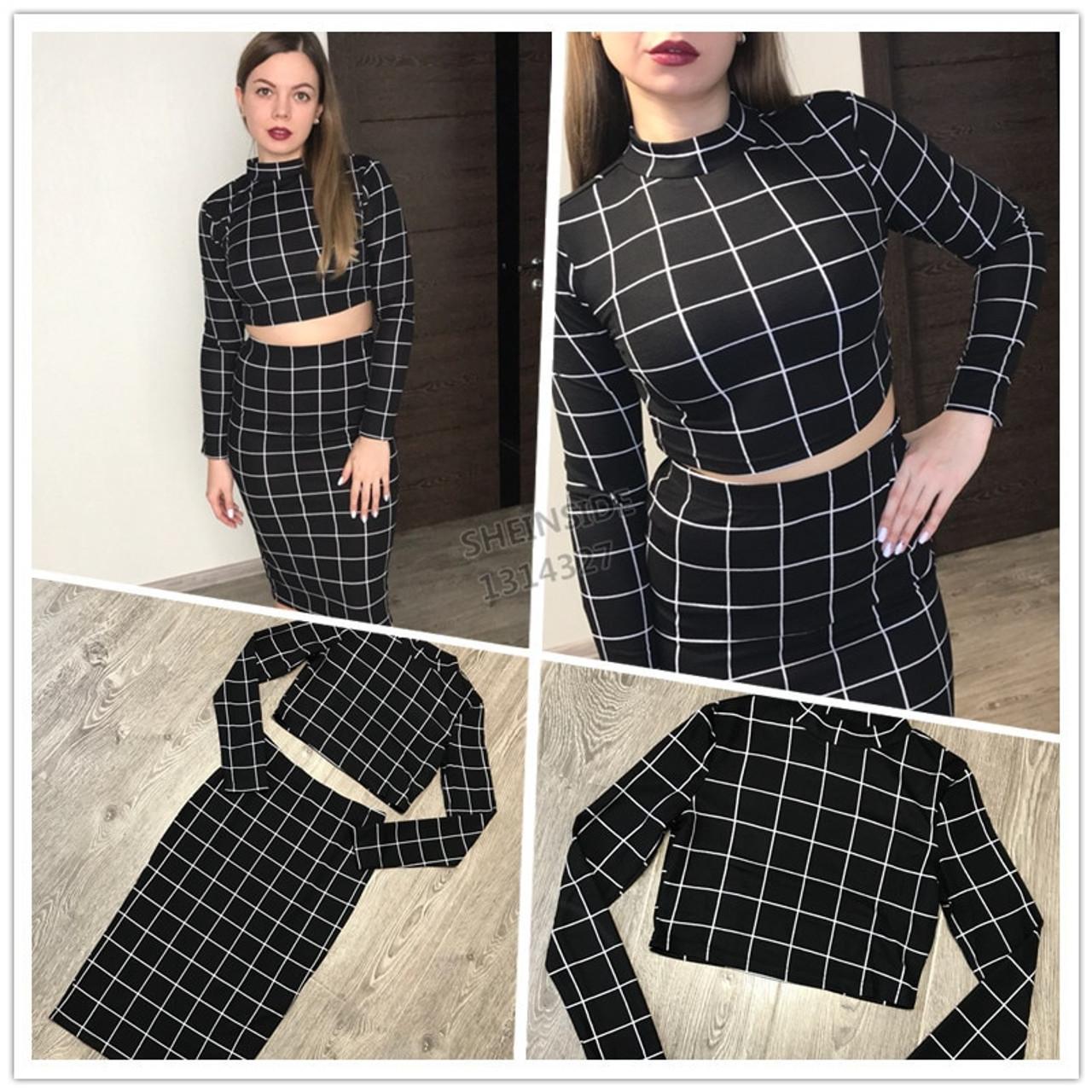 8c94363d2 ... Sheinside Stand Collar Long Sleeve 2 Piece Set Women Crop Grid Top  & Pencil Skirt ...
