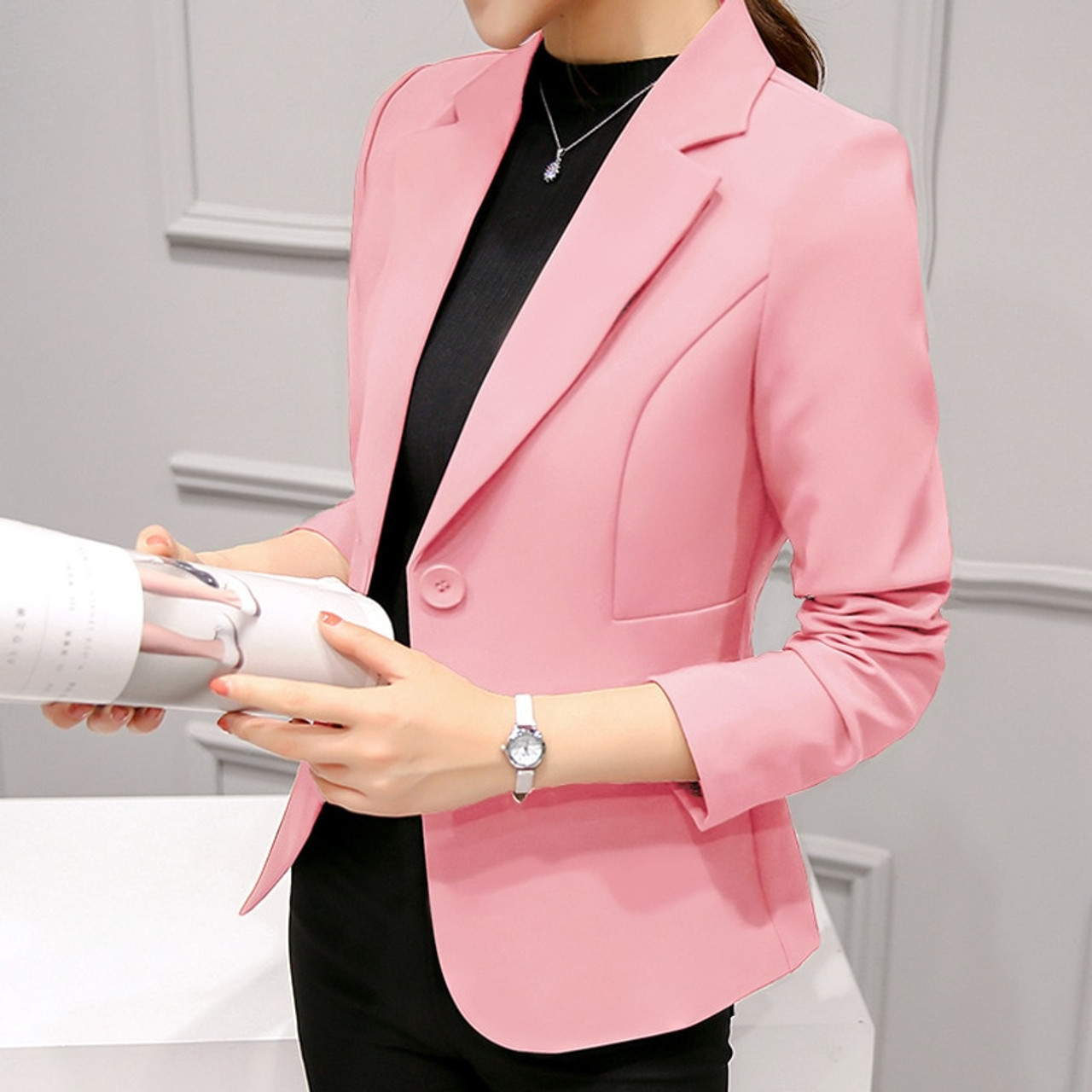 3bba9bf9f33c6 ... 2018 Women s Blazer Pink Long Sleeve Blazers Solid One Button Coat Slim Office  Lady Jacket Female ...