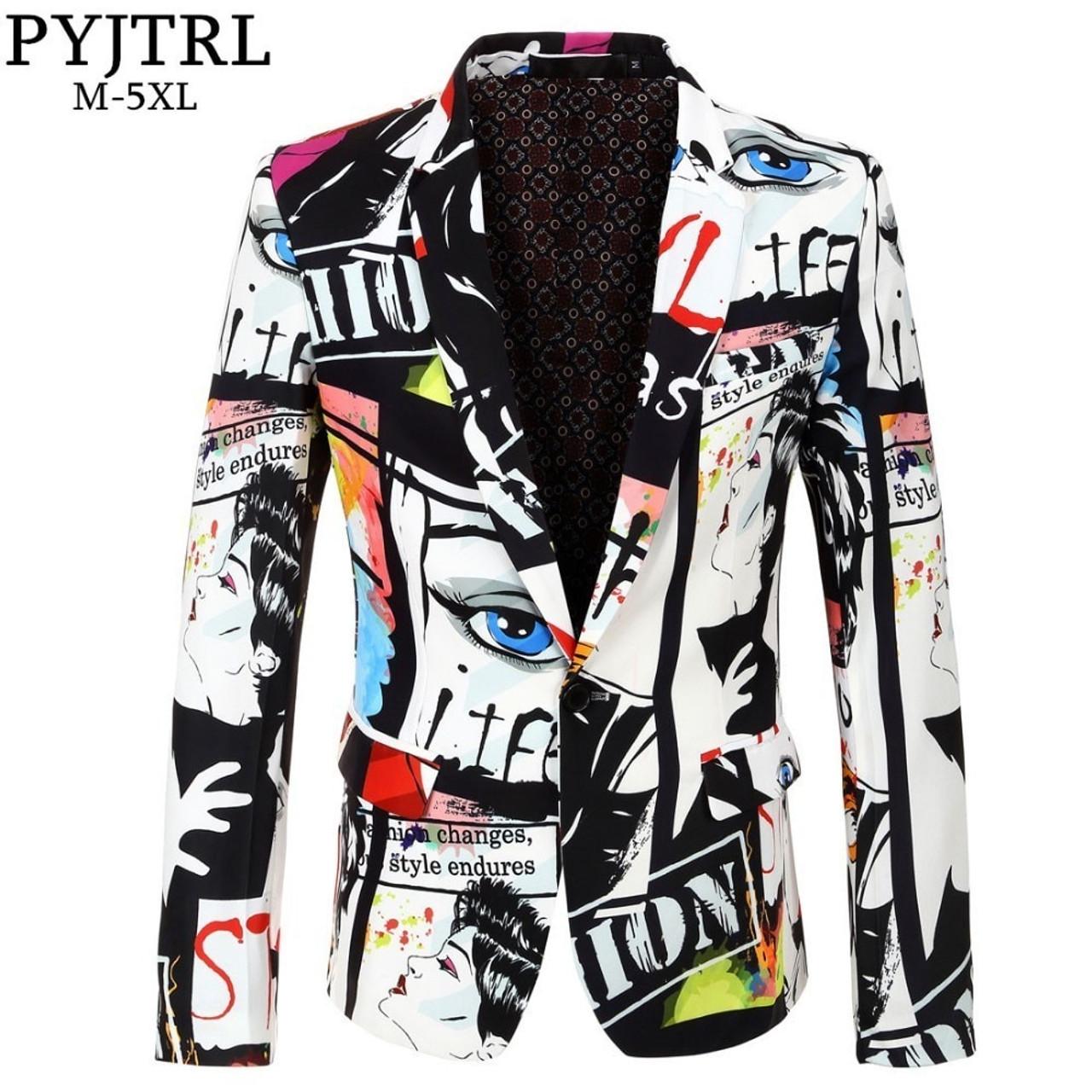 d9d09d222dc PYJTRL Brand 2018 New Tide Mens Fashion Print Blazer Design Plus Size Hip  Hot Casual Male ...