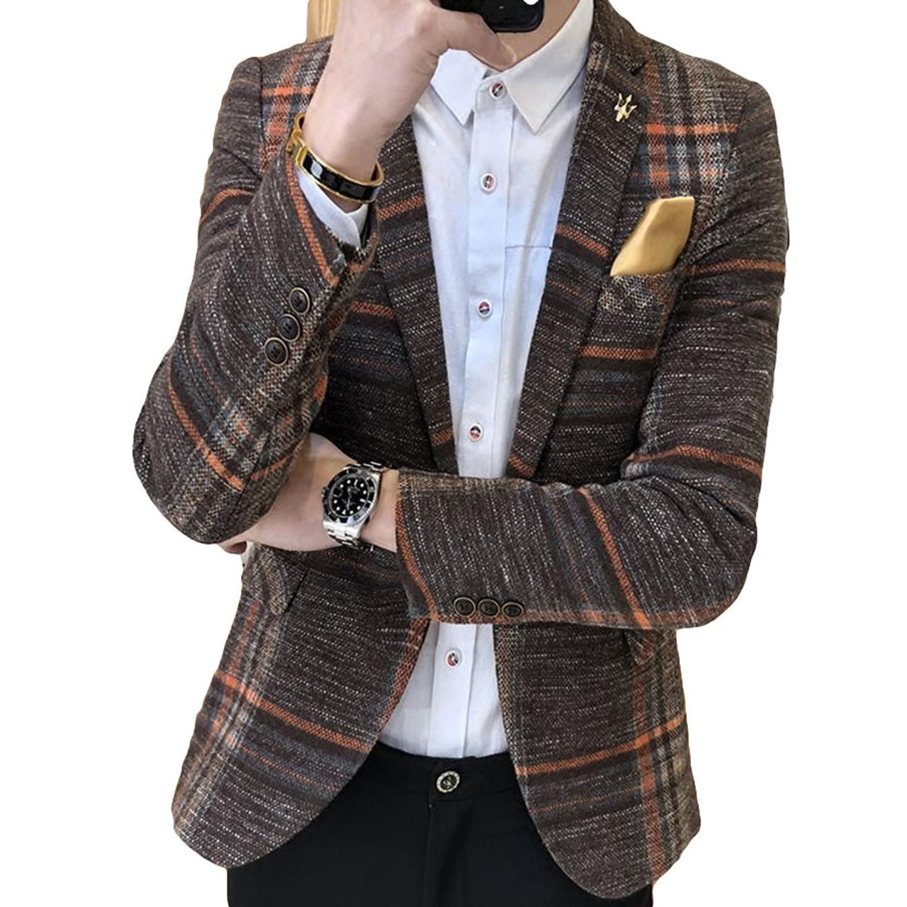 4168795c01b5 Men Designer Blazer Slim Fit Korean Male Plaid Blazer Masculino Tweed  Button Casual mens Blazer Jacket ...