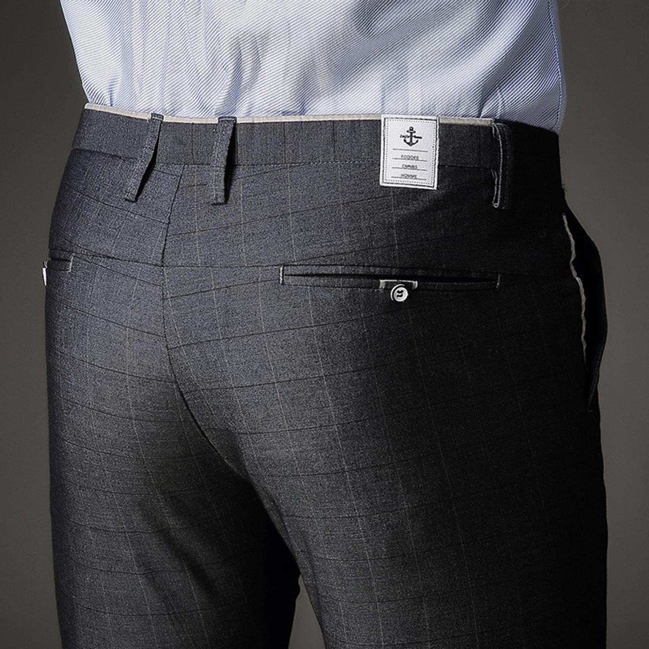 f8182250bd8 ... Fashion Mens Dress Pants Summer Formal Pants Slim Fit Suit Plaid Pants  Business Casual Plus Size ...