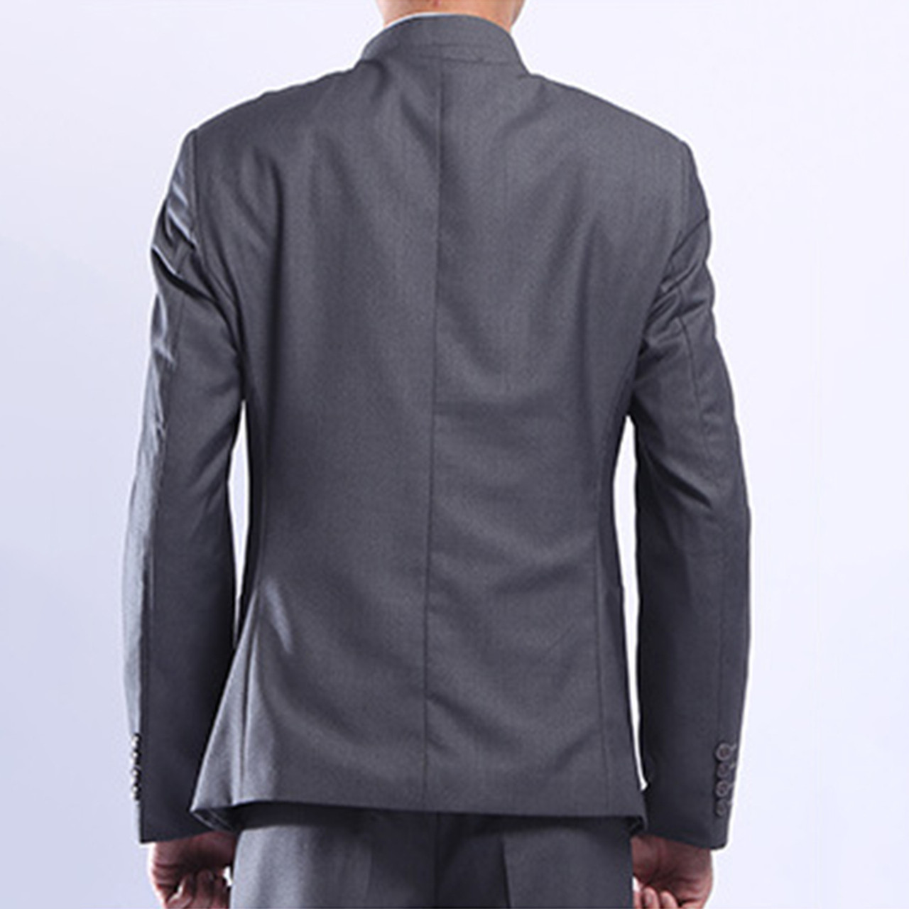 fc9dce3d3 ... Men Gray Tunic Suit Jacket Mandarin Collar Single Breasted Chinese  Traditional Stand Collar Grey Tunic Jacket ...