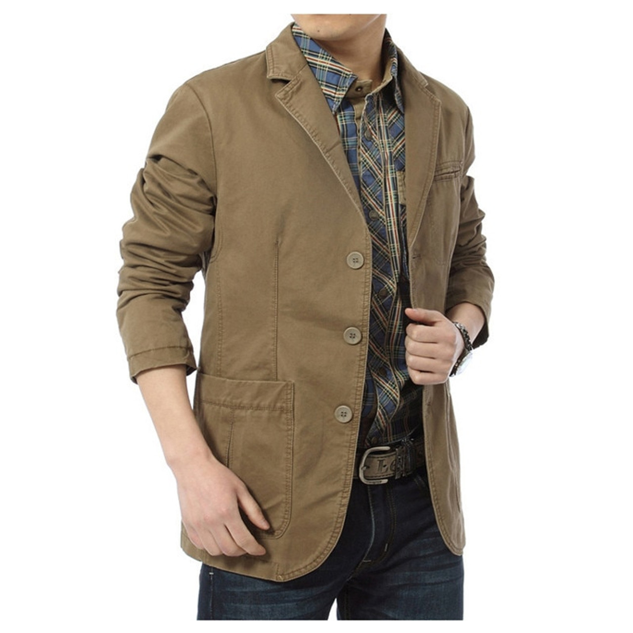 8d41042872ff5 NIANJEEP 2017 New Autumn Casual Blazers Men Cotton Deinm Casual Suits  Jackets Military Army Green Khaki ...