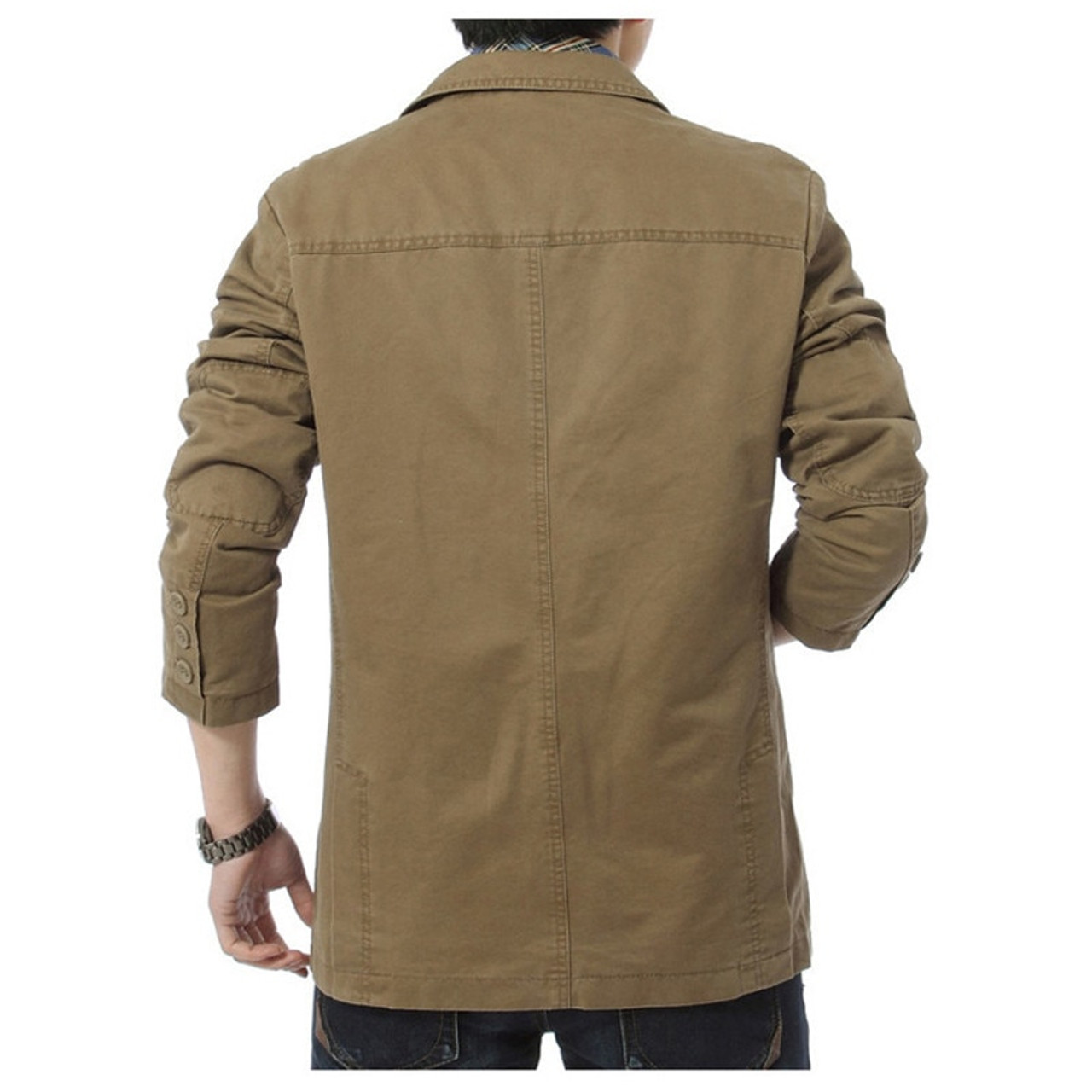 1f2df02e336a8 ... NIANJEEP 2017 New Autumn Casual Blazers Men Cotton Deinm Casual Suits  Jackets Military Army Green Khaki ...