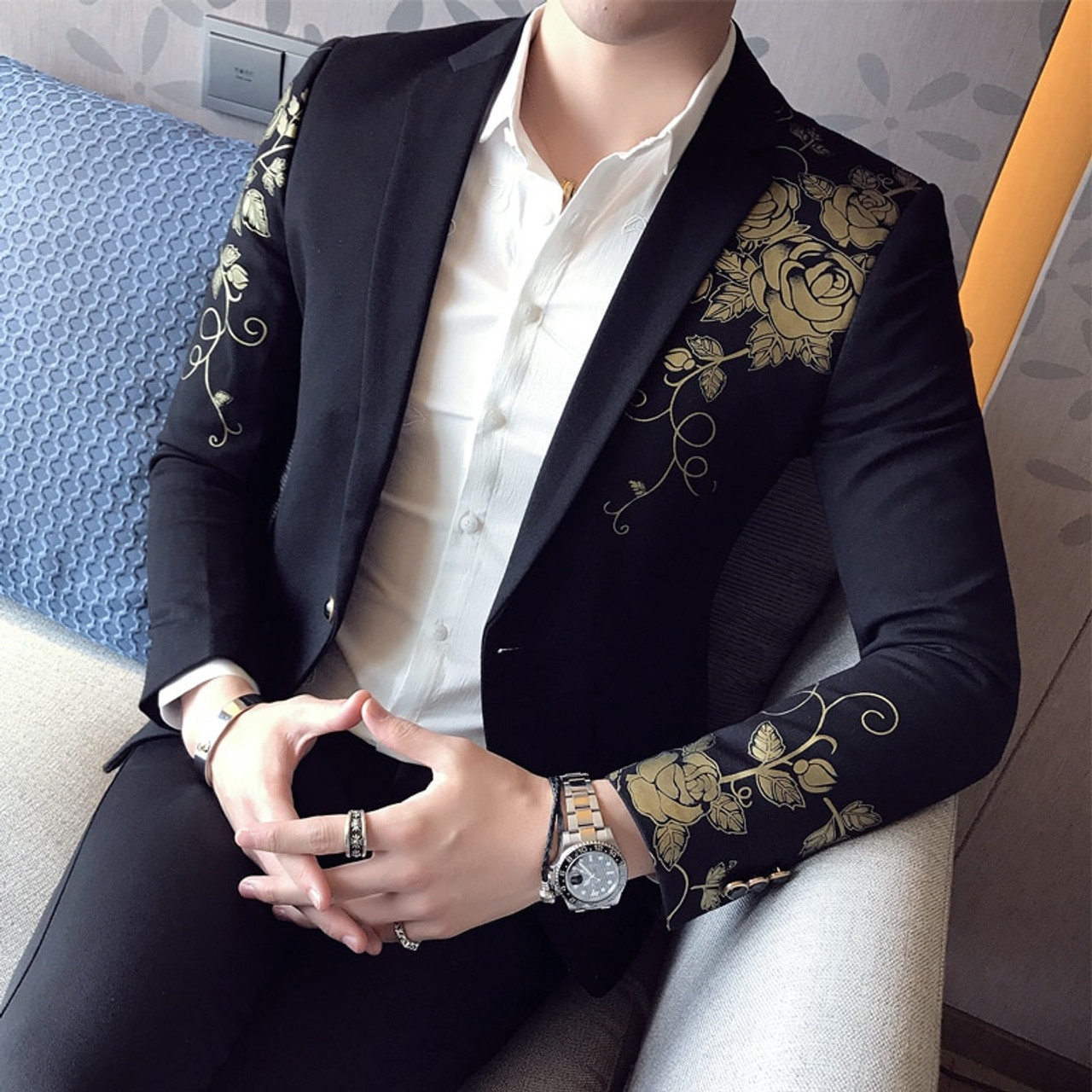 Hot Mens Floral Printing Casual Stylish Business Fomal Suit Blazer Coats Jackets