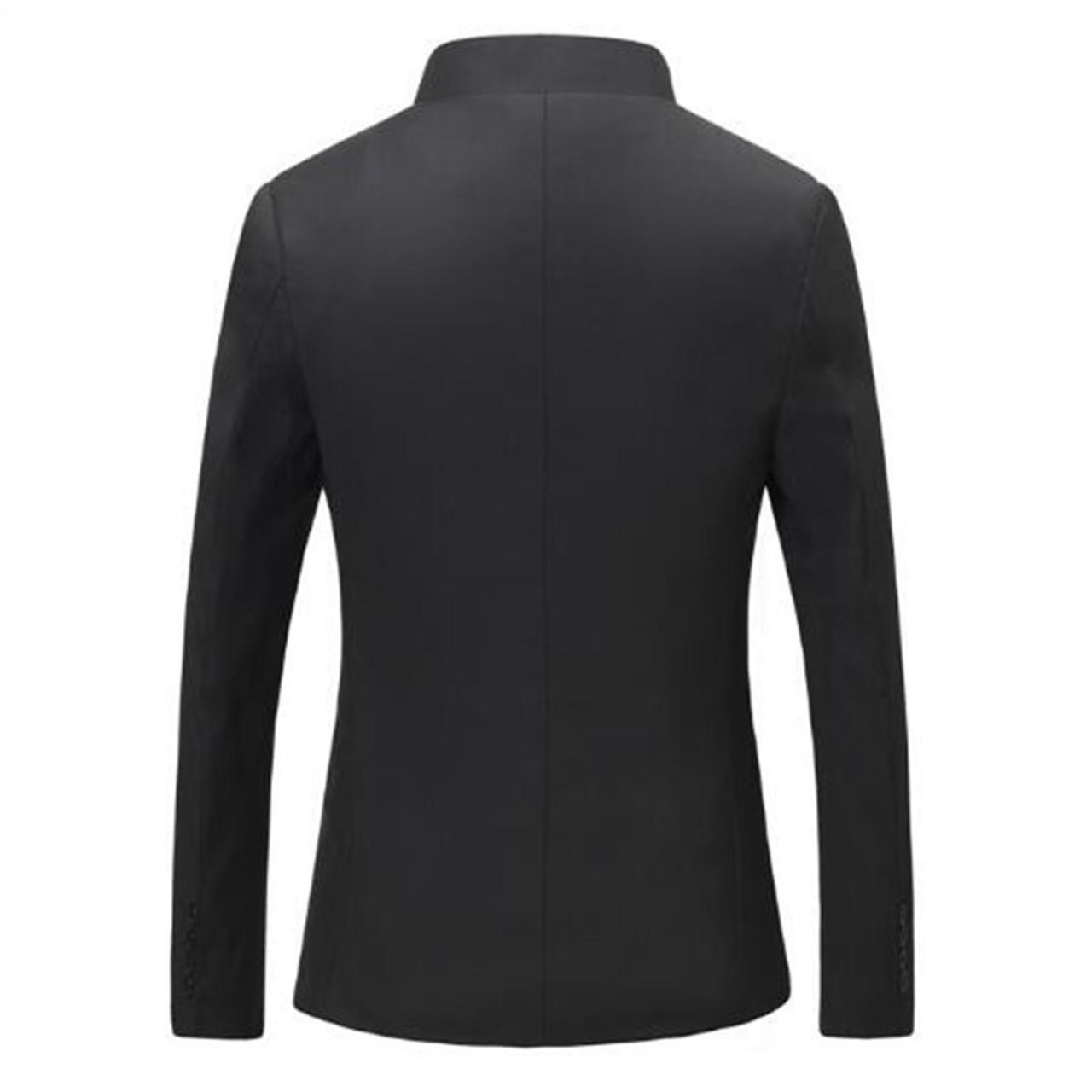 1761e4b45 ... Chinese Collar Black Suit Jacket Men Mandarin Collar Tunic Suit Jacket Mens  Traditional Wedding Jacket Tang ...