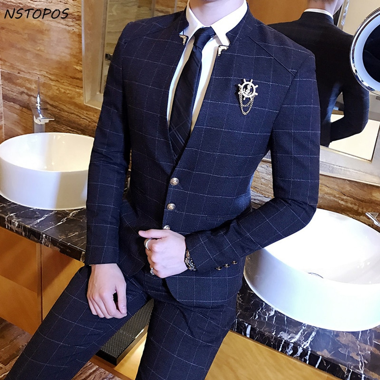 f2ec5feb3fed Mandarin Collar Suit Plaid Check Suit Male 2017 Chinese Collar Suit  Business Casual Terno Slim Fit ...