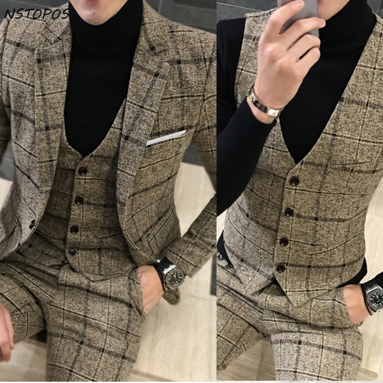3 Piece Tweed Suit Men Plaid Blazer 4xl 5xl Khaki Grey Blue Black