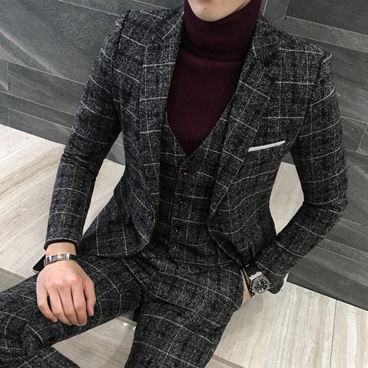 3 Piece Tweed Suit Men Plaid Blazer 4xl 5xl Khaki Grey Blue Black