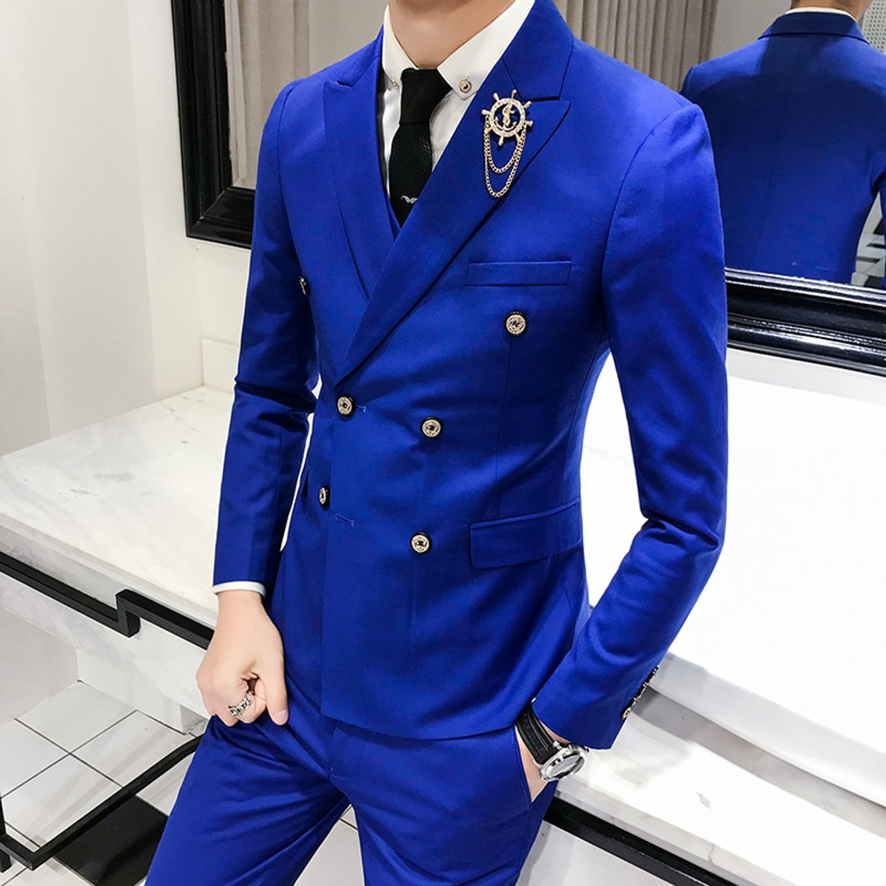 1 Piece 2018 Spring New Men S Suits Jacket Solid Color Blazers Men England Style Wind Double Breasted Suit Men S Jackets Onshopdeals Com