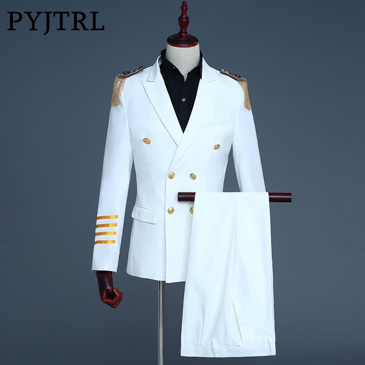 PYJTRL Brand New White Navy Blue Mens Captain Suits Latest Coat Pant  Designs 2018 Men Groom ... 9b255cca01ff