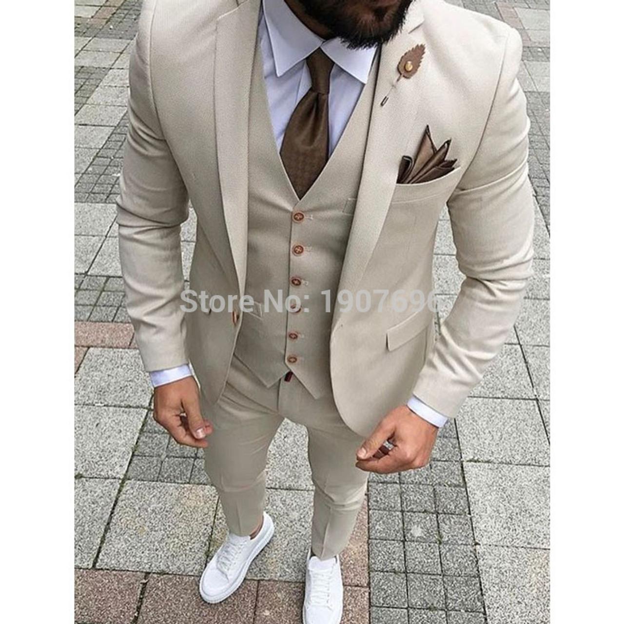 510e3985c Beige Mens Suits 2018 Three Piece Jacket Pants Vest Custom Slim Fit Male  Blazer Wedding Groom ...