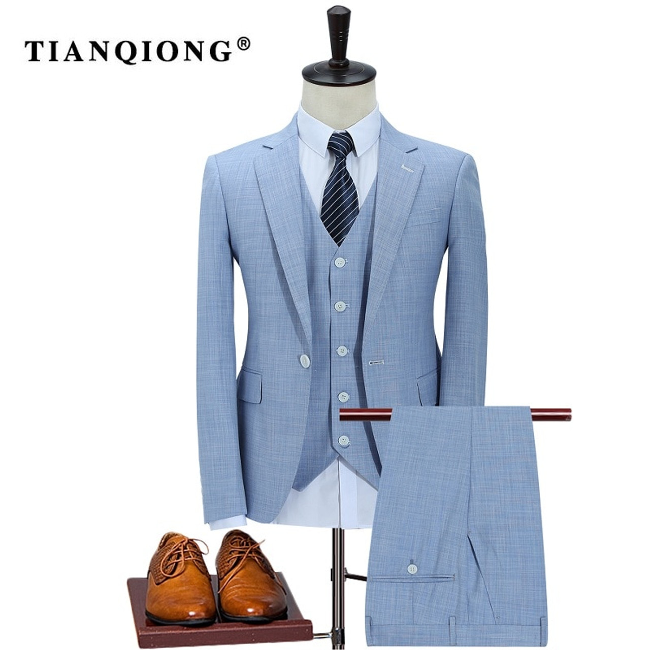 23a60c9ab4a TIAN QIONG 100% Polyester Sky Blue Suit Men Slim Fit Leisure Business  Wedding Dress Suits ...