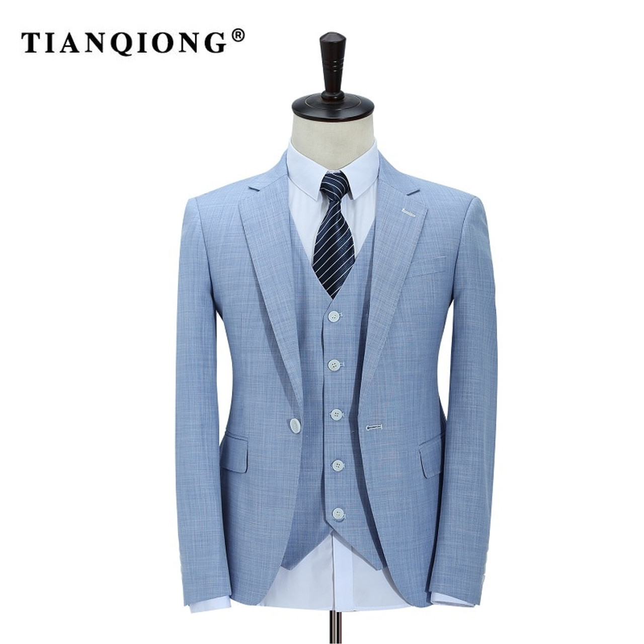 9790d488e82 ... TIAN QIONG 100% Polyester Sky Blue Suit Men Slim Fit Leisure Business  Wedding Dress Suits ...