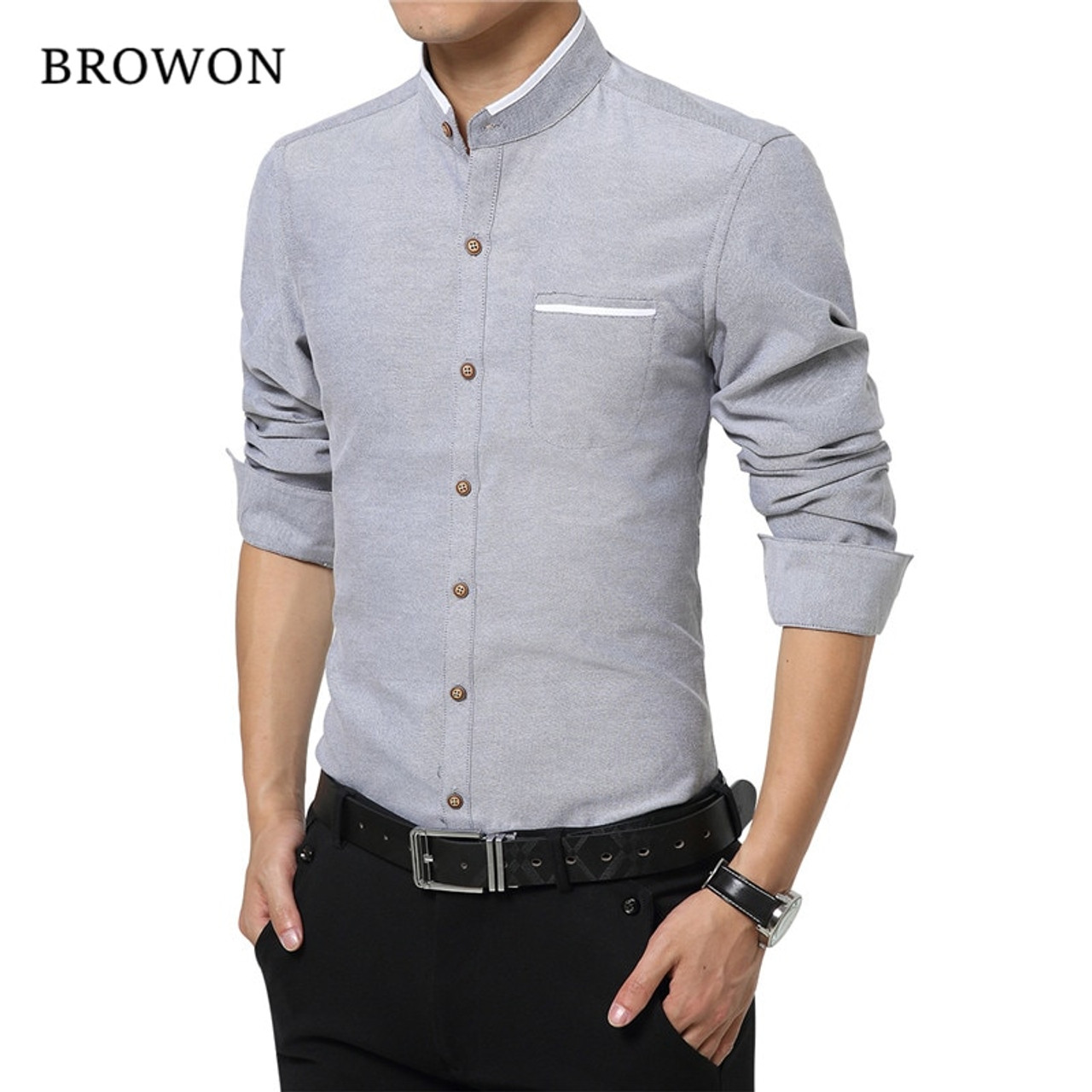 9d650e7fa6391 Browon Mens Dress Shirts M-5XL Fashion Casual Men Shirt Long Sleeve  Mandarin Collar Slim Fit Shirt Men Korean Business