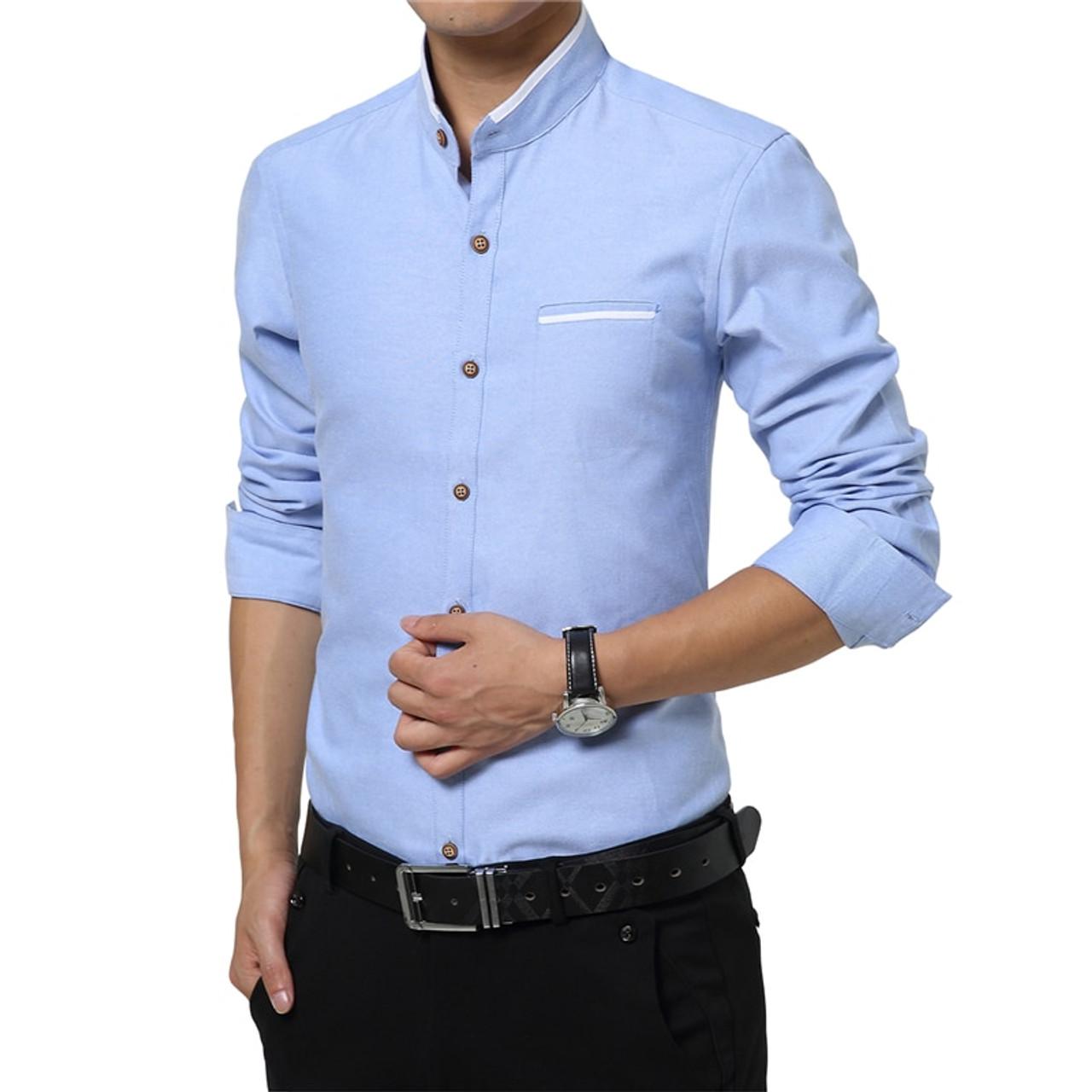 Browon Mens Dress Shirts M 5XL Fashion Casual Men Shirt Long Sleeve Mandarin Collar Slim Fit Shirt Men Korean Business