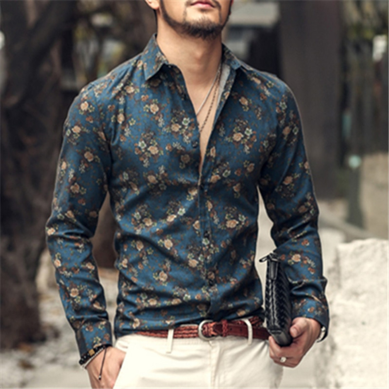 436c2d9e2ad 2018 autumn new fashion flower printed long sleeve shirts men camisa male  slim flower shirts vintage ...