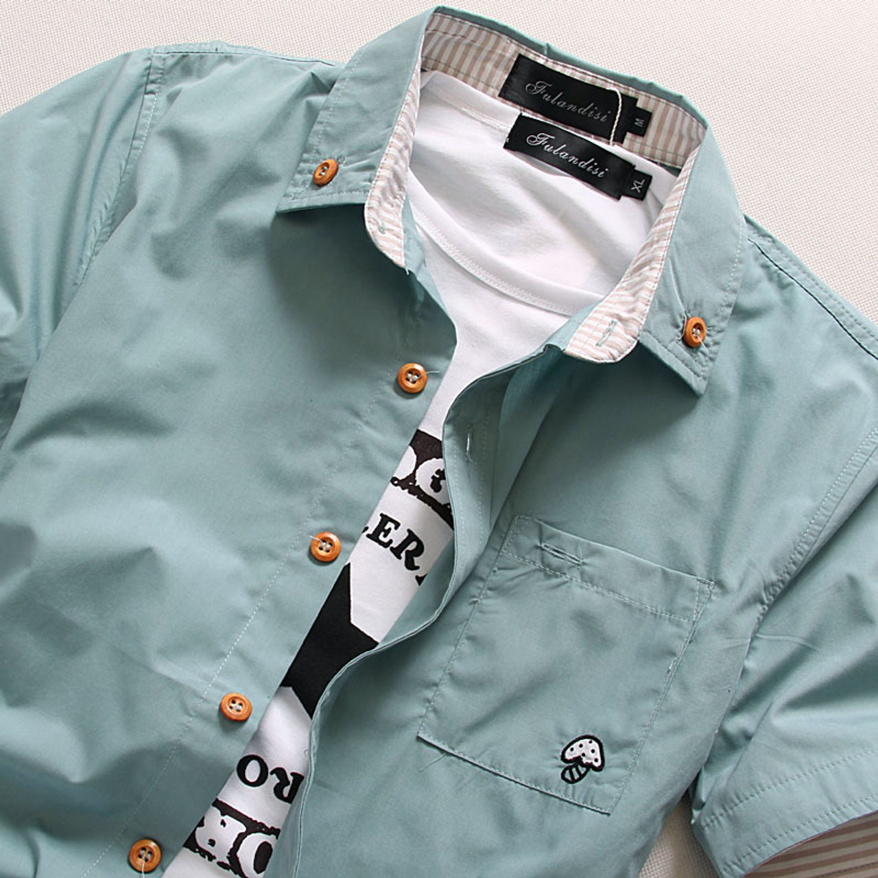 b1d7f268da3 ... MarKyi plus size 5xl mushroom embroidery mens short sleeve casual shirts  fashion 2017 new summer cotton ...