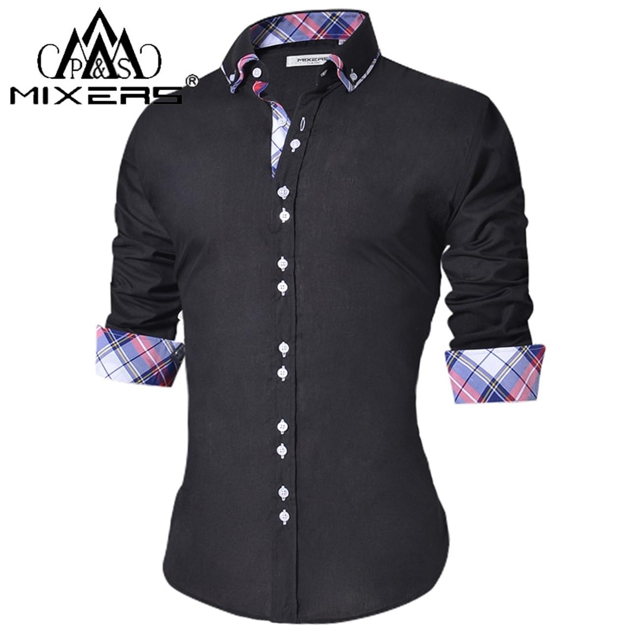 46985ff5f522 2018 Men s Casual Shirt Slim Fit Men s Casual Button Down Shirt Long Sleeve  Formal Dress Shirts ...