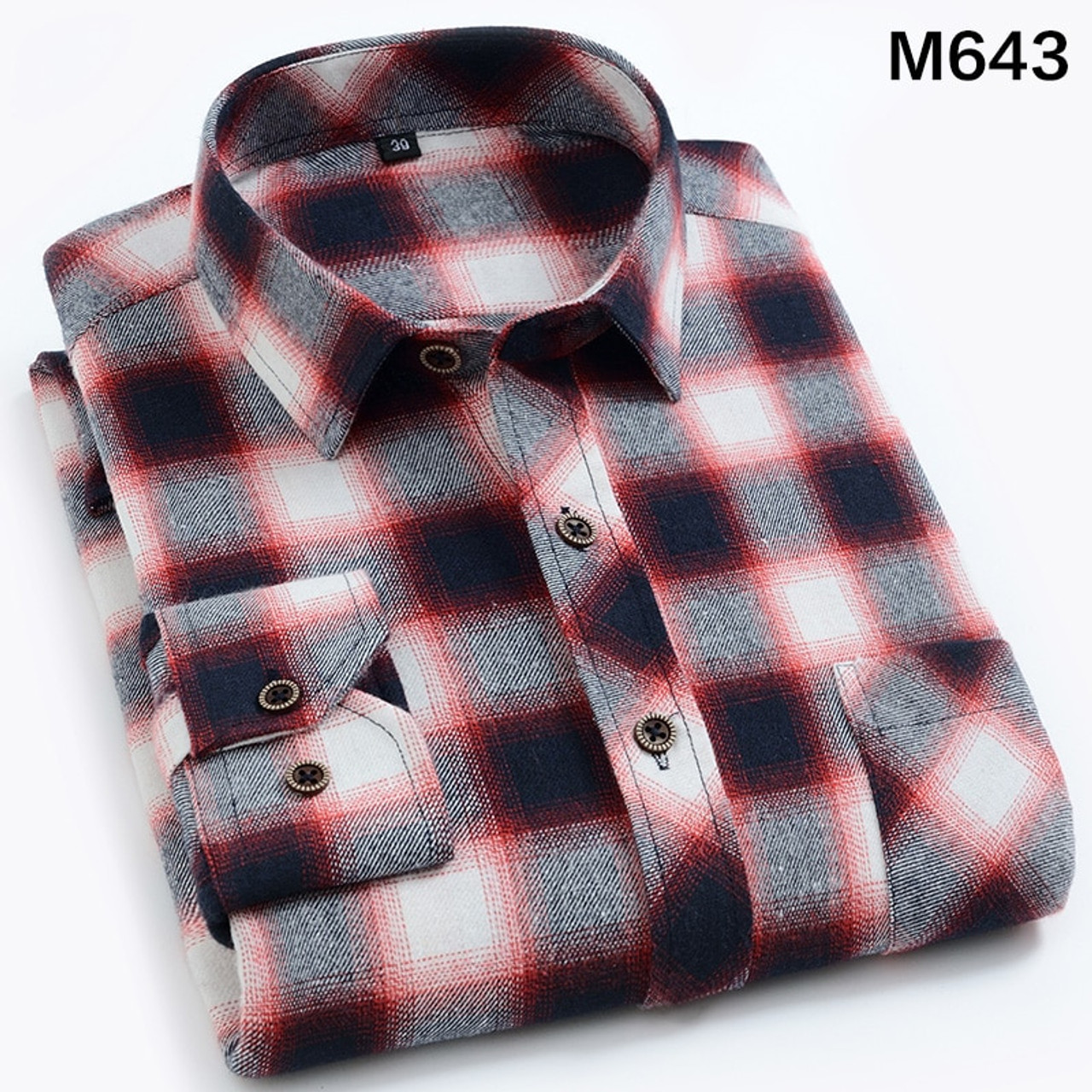 2019 Male Casual Shirts Cotton Flannel Plaid Long Sleeve Shirt,6608,Asian XS Label 38
