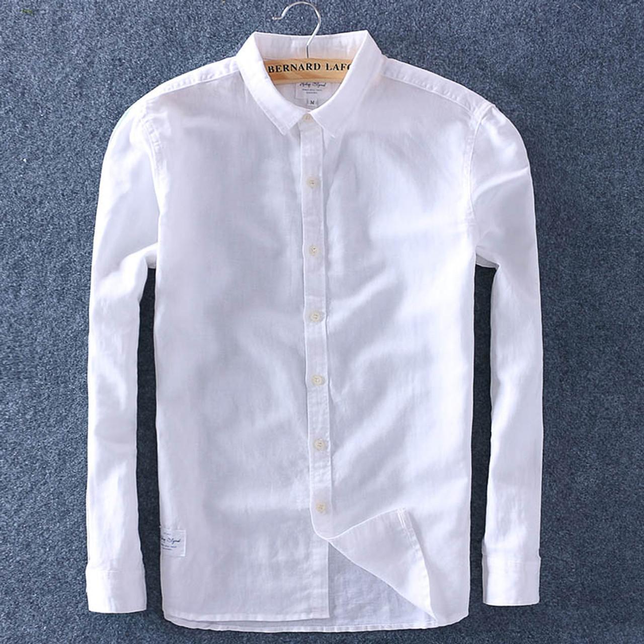 36c580b8302 ... Top Quality 2018 Men Spring Summer Cotton Linen Shirt Slim Square  Collar Comfortable Undershirt Male Plus ...