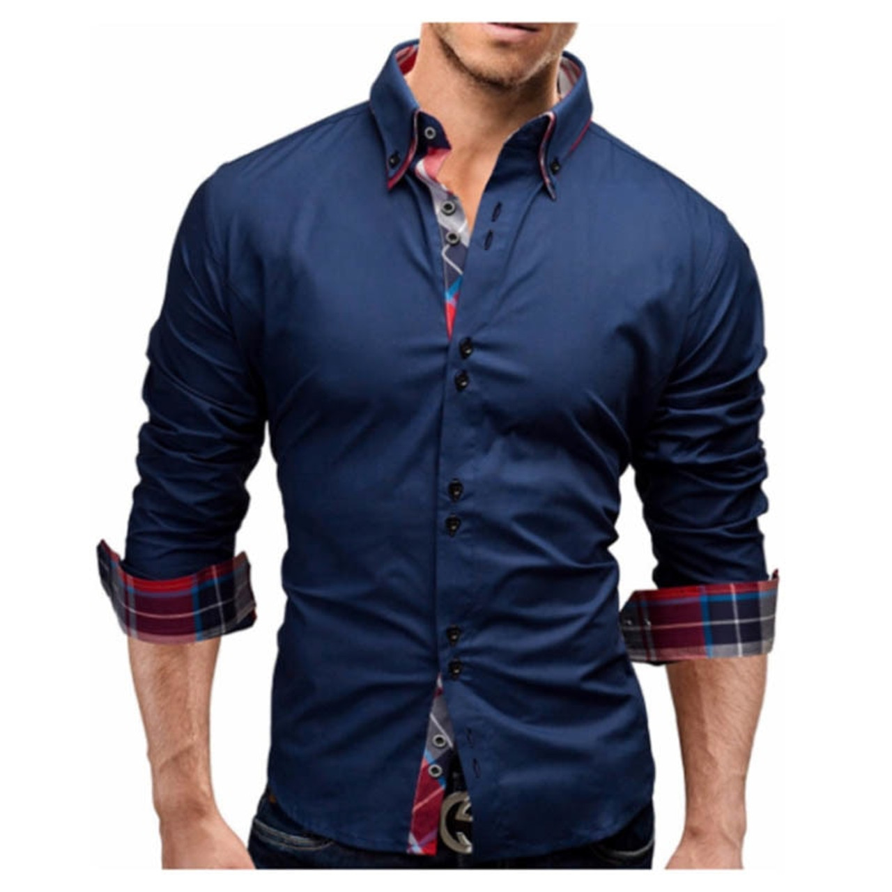 ef707b05f418 ... Men Shirt 2018 Spring New Brand Business Men'S Slim Fit Dress Shirt  Male Long Sleeves Casual ...