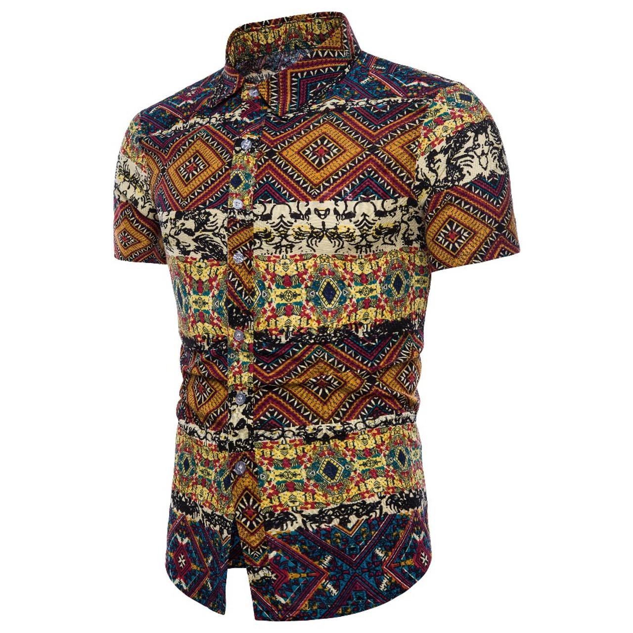 b78cbc4c ... 2018 Fashion Men's Short Sleeve Hawaiian Shirt Summer Casual Flower  Shirt Men's Asian Size M- ...