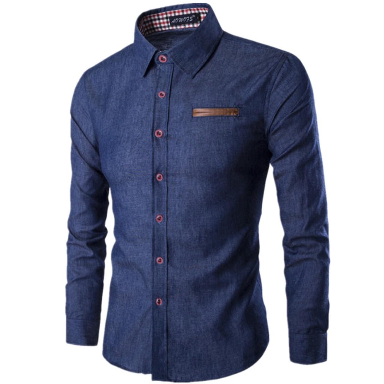 a7492328d31e 2018 New Fashion Brand Men Shirt Pocket Fight Leather Dress Shirt Long  Sleeve Slim Fit Camisa ...
