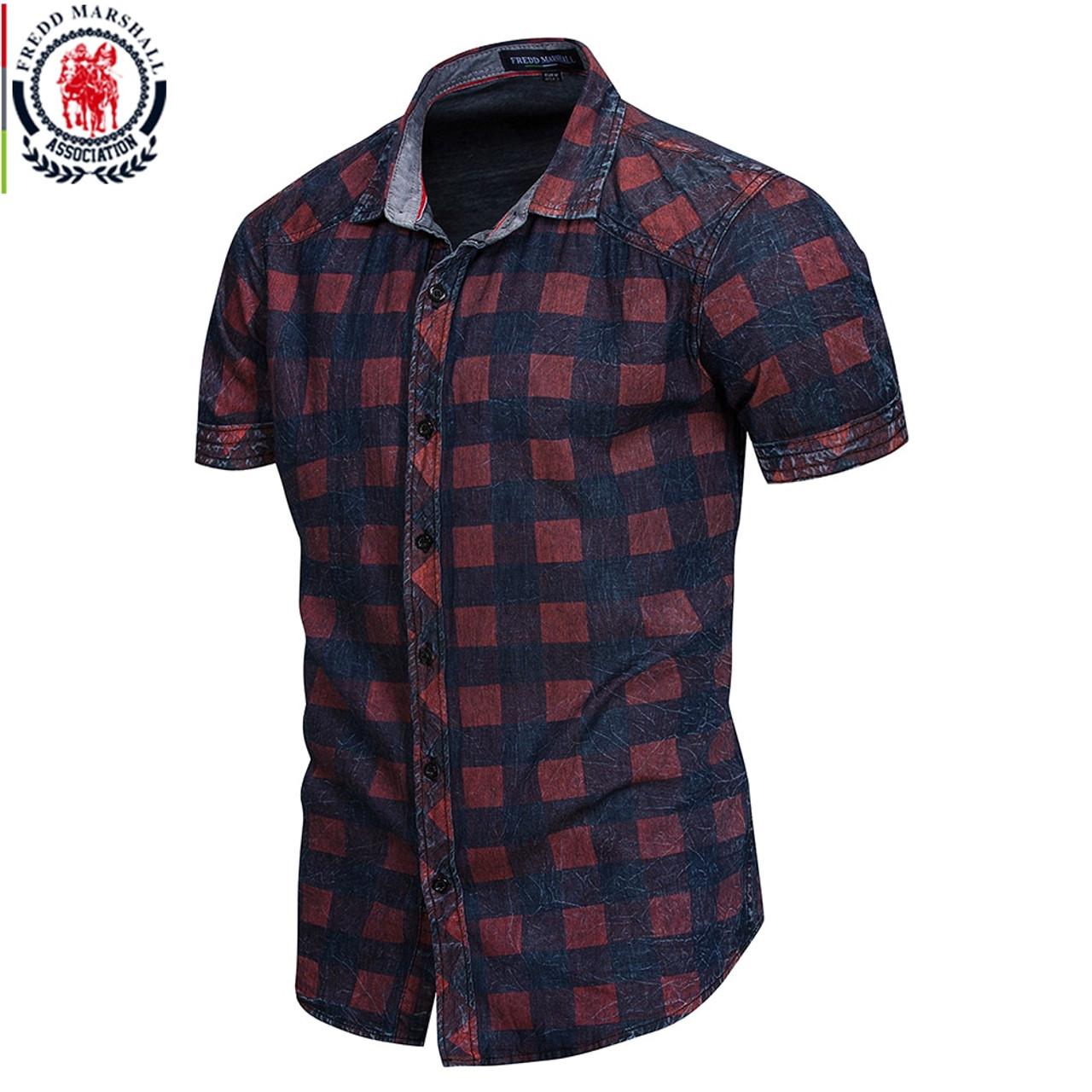 e1f78e6334b FREDD MARSHALL 2018 New Summer Short Sleeve Denim Shirt Men Casual Business Plaid  Shirts Male Brand ...