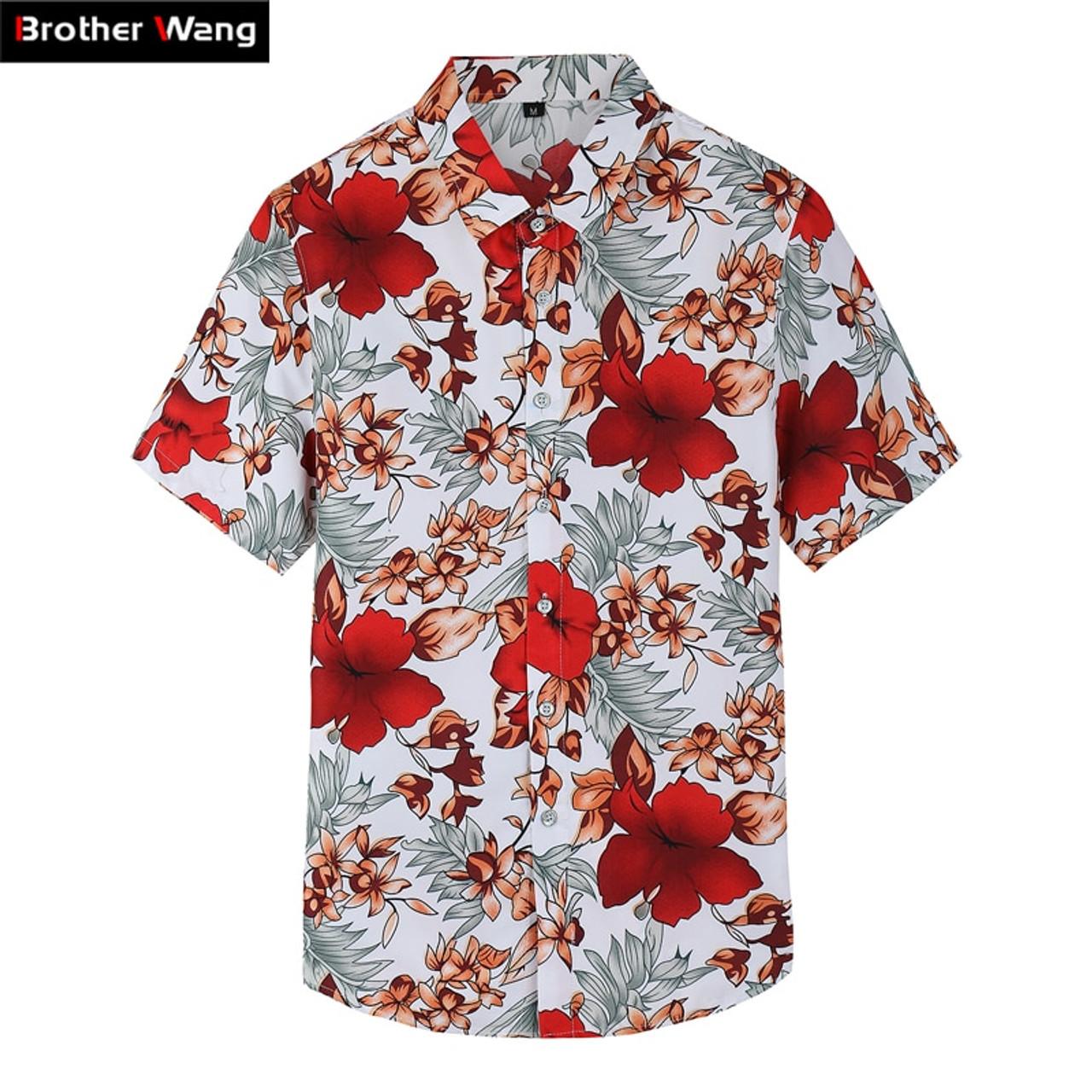 53e56281 2018 Summer New Shirt Men's Casual Red Flower Short-sleeved Shirt Fashion  Trend Plus Size Hawaiian Shirt Brand Clothes 6XL 7XL - OnshopDeals.Com