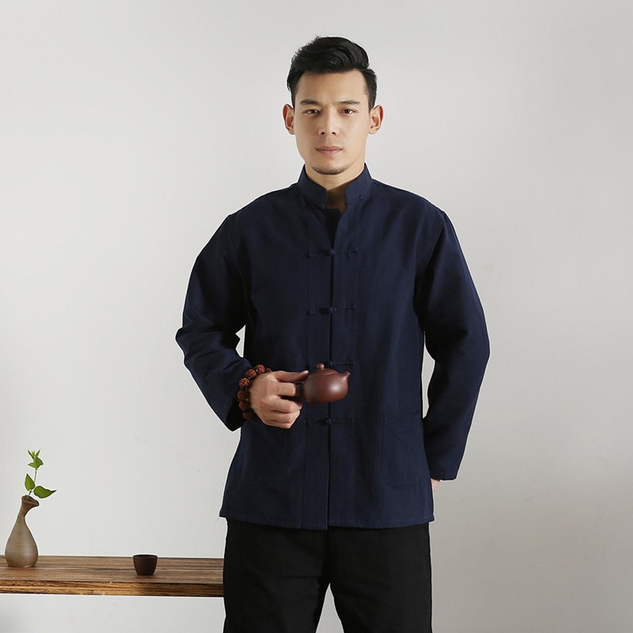 f8ce9051a ... Long Sleeve Cotton Traditional Chinese Male Tang Clothes Men Kung Fu  Tai Chi Shirt Vintage Mandarin ...