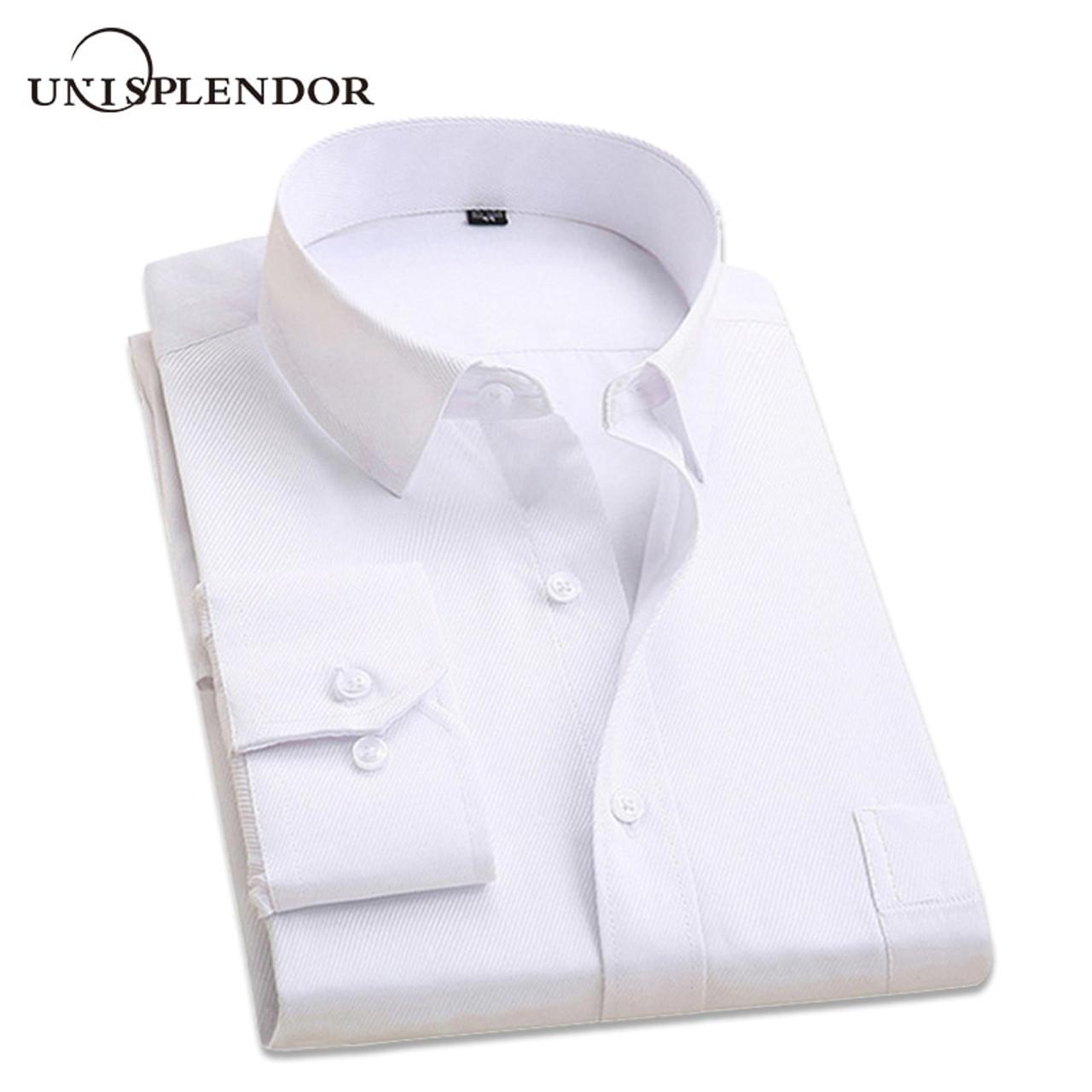 2069d3f6c47 2018 Classic Solid Color Men s Shirt Long Sleeve Formal Business Shirts Men  Slim Fit Wedding Shirt ...