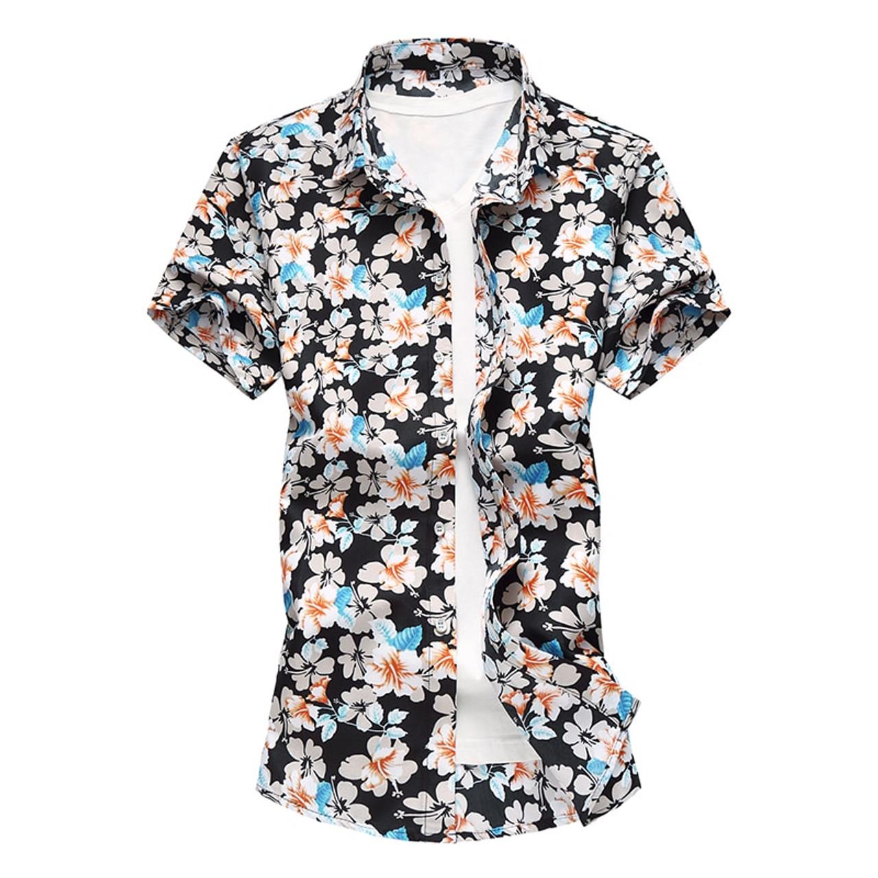 6676ede0dcd ... Summer Mens Short Sleeve Beach Hawaiian Shirts Cotton Casual Floral  Shirts Plus Size 7XL 2018 New ...