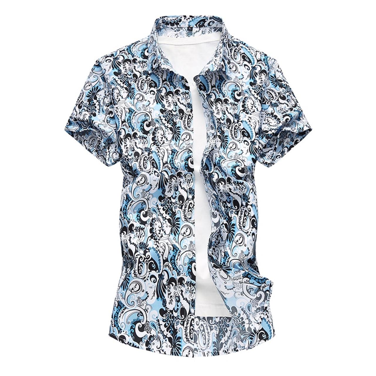 c0e032135b7 ... Summer Mens Short Sleeve Beach Hawaiian Shirts Cotton Casual Floral  Shirts Plus Size 7XL 2018 New ...