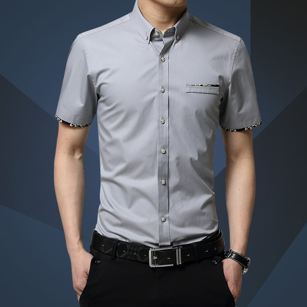 539de8184 ... 2018 New Brand Men Shirts Brand Turn-down Collar Slim Fit Men Chemise  Homme Casual ...