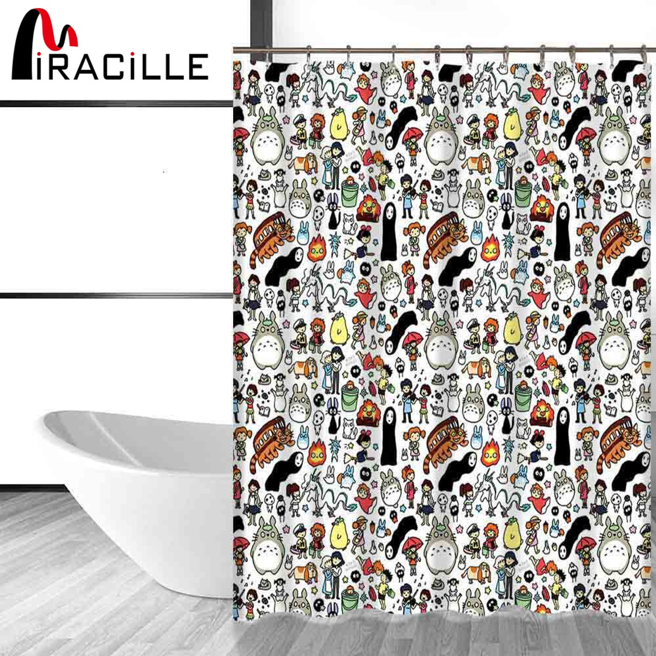 Miracille Totoro Cartoon Cute Shower Curtains Bathroom Decor Bath Curtains Waterproof Polyester Fabric Kid S Curtain 12hooks Onshopdeals Com