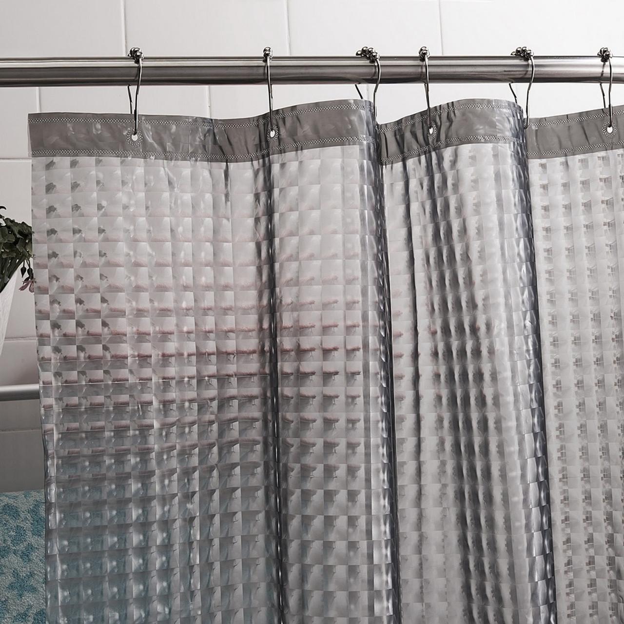 Happy Tree PEVA 3D Water Cube Thicken Shower Curtain Semi Transparent Waterproof Bathroom