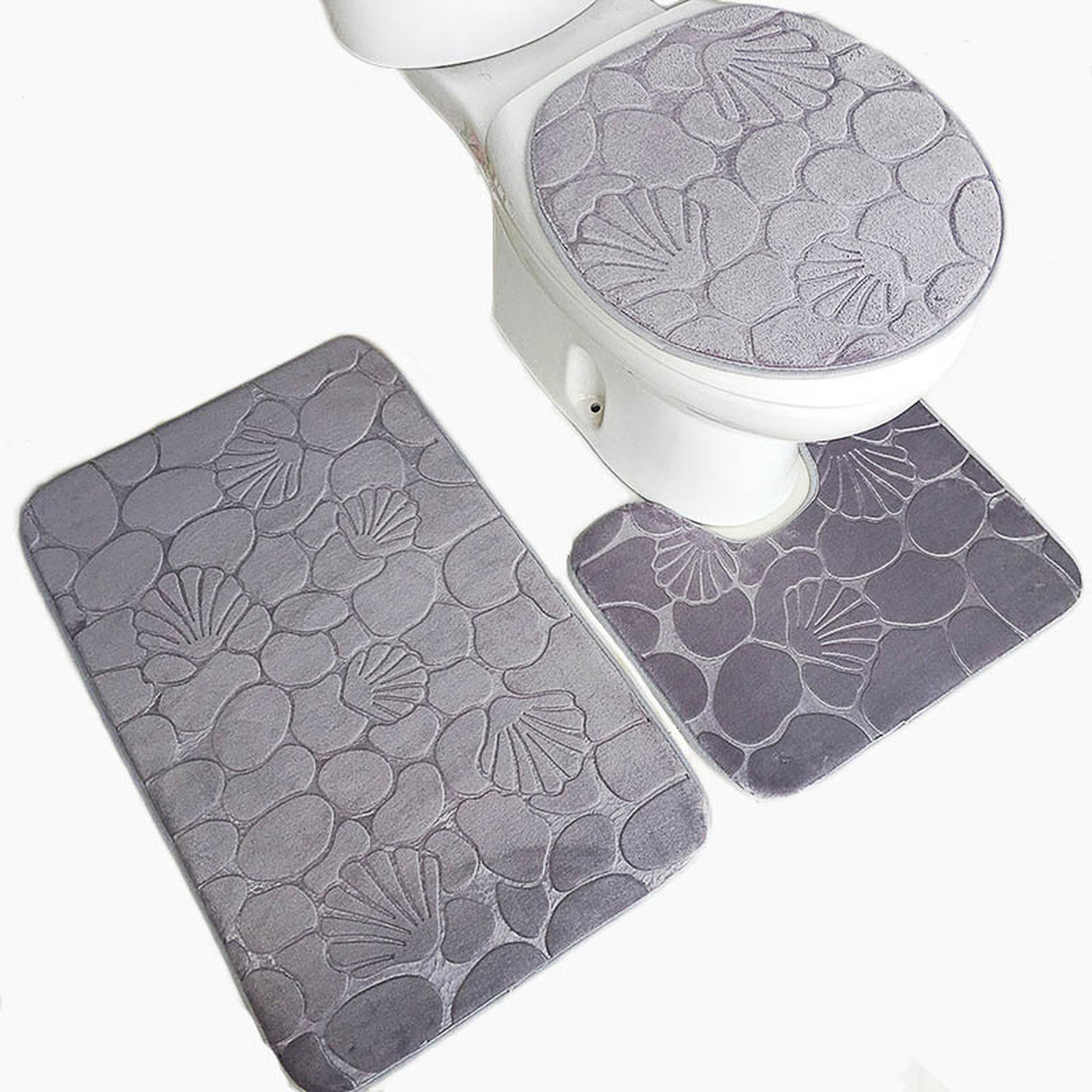 Anti-slip Bath Mats Set Coral Fleece Absorb Bathroom Carpet Pedestal Lid US NEW